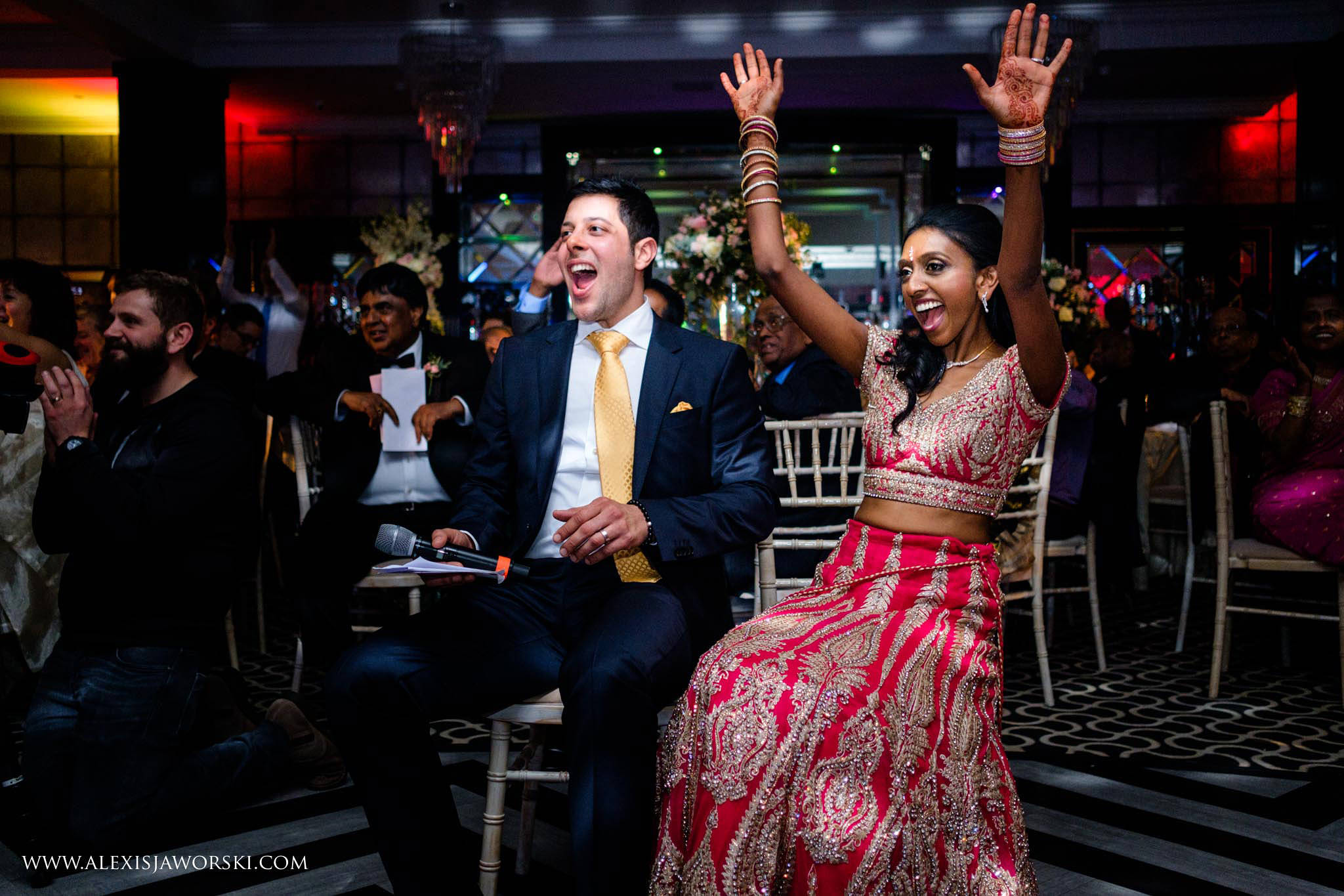 groom and bride cheering