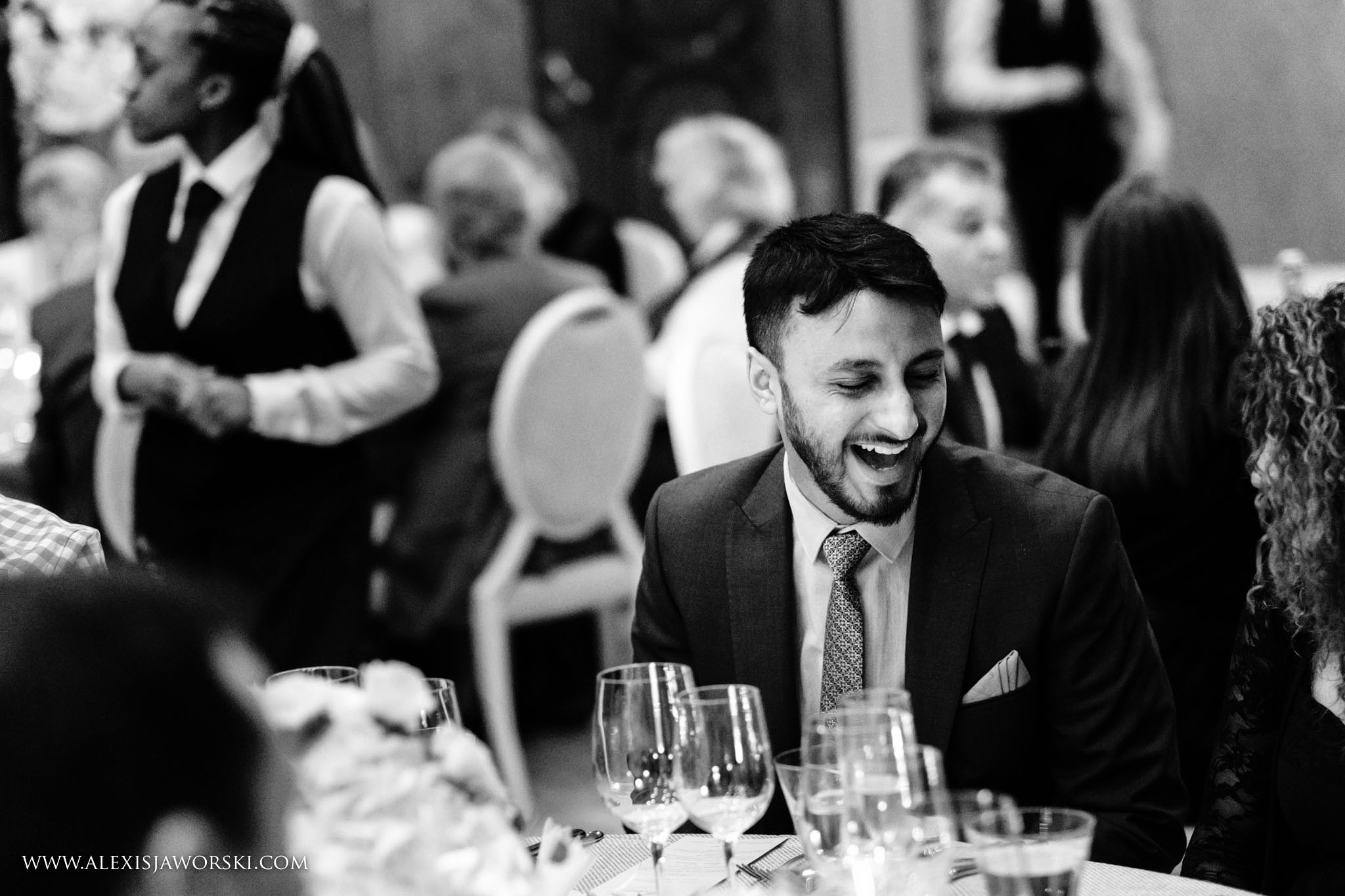 guests laughing during the meal