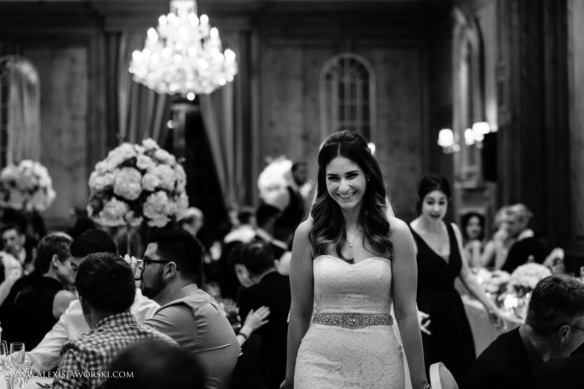 bride waling around the room