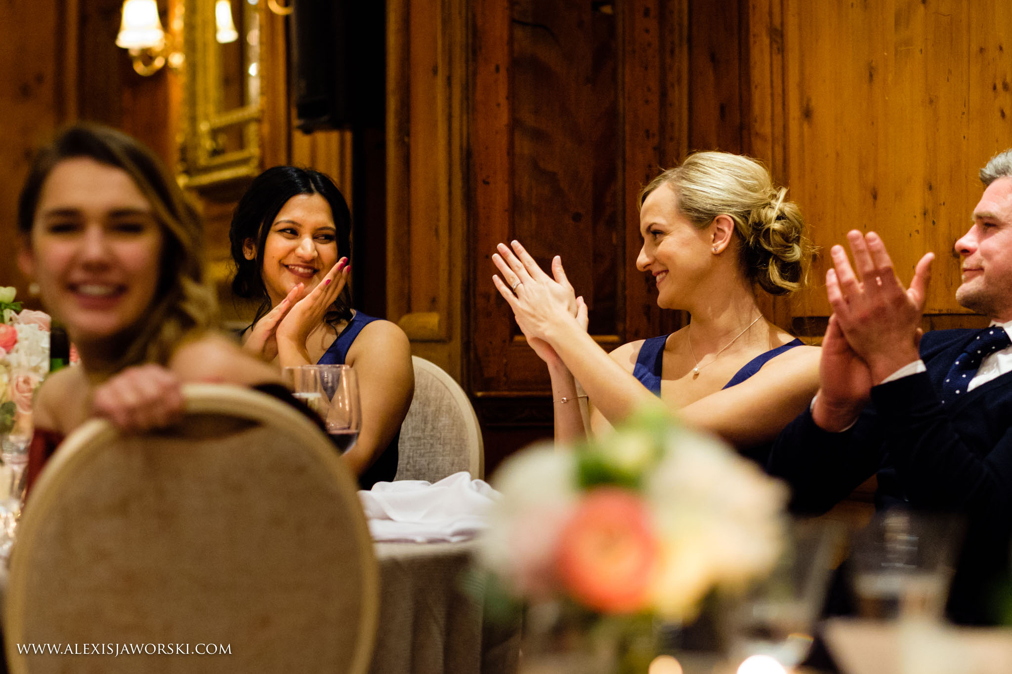 bridesmaids clapping