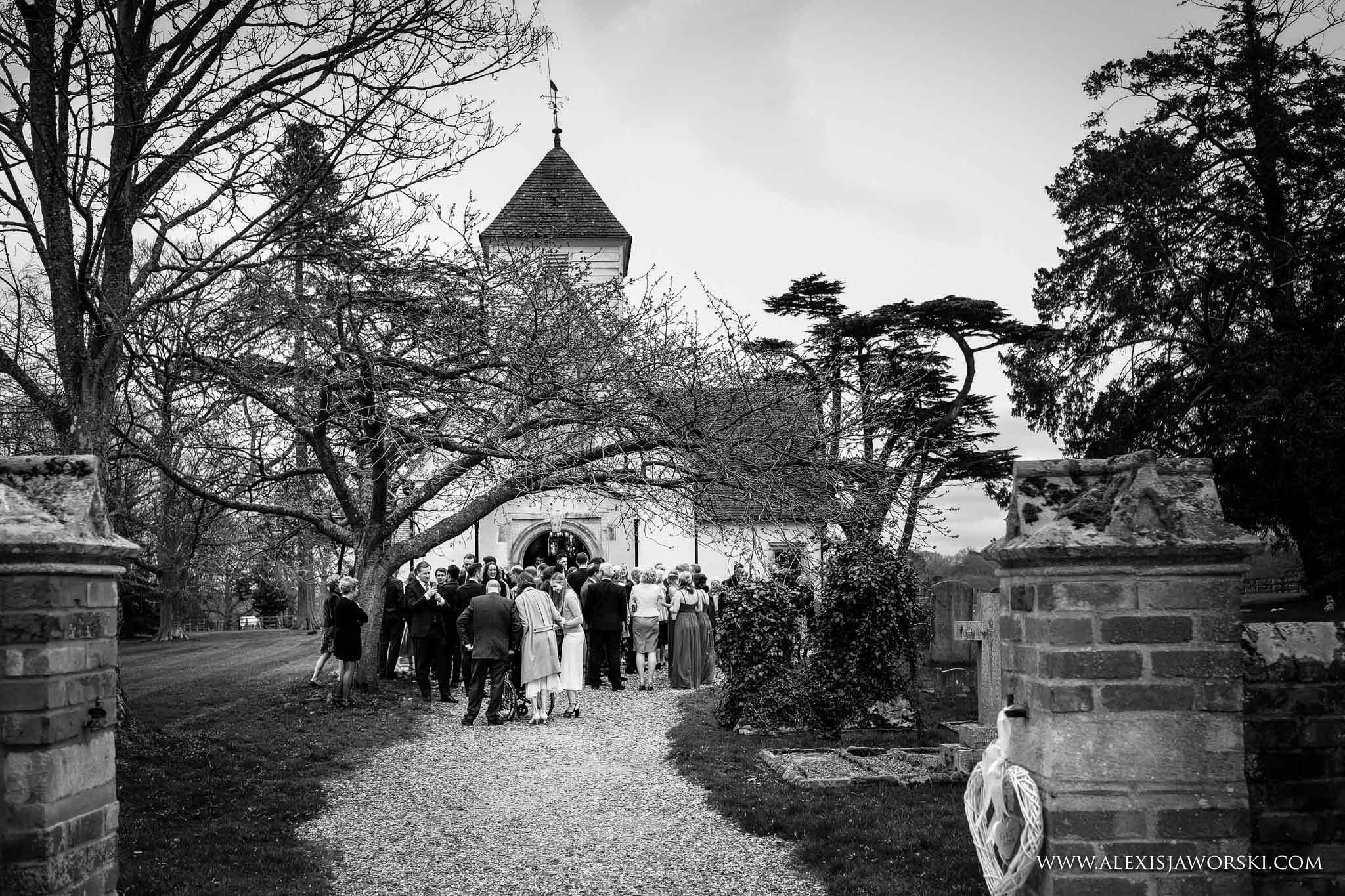 guests milling outside the church