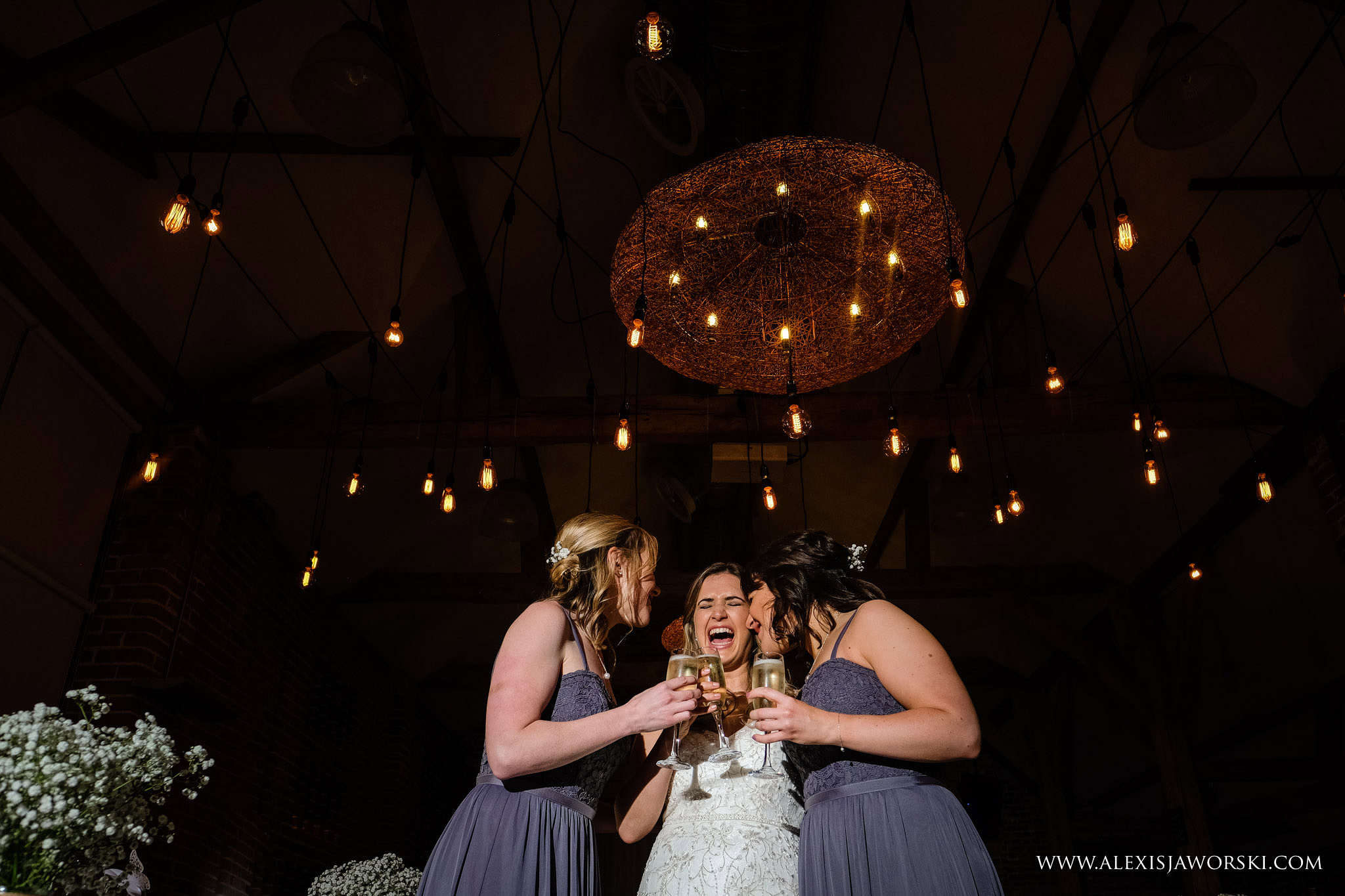 bride and bridesmaids having a good time