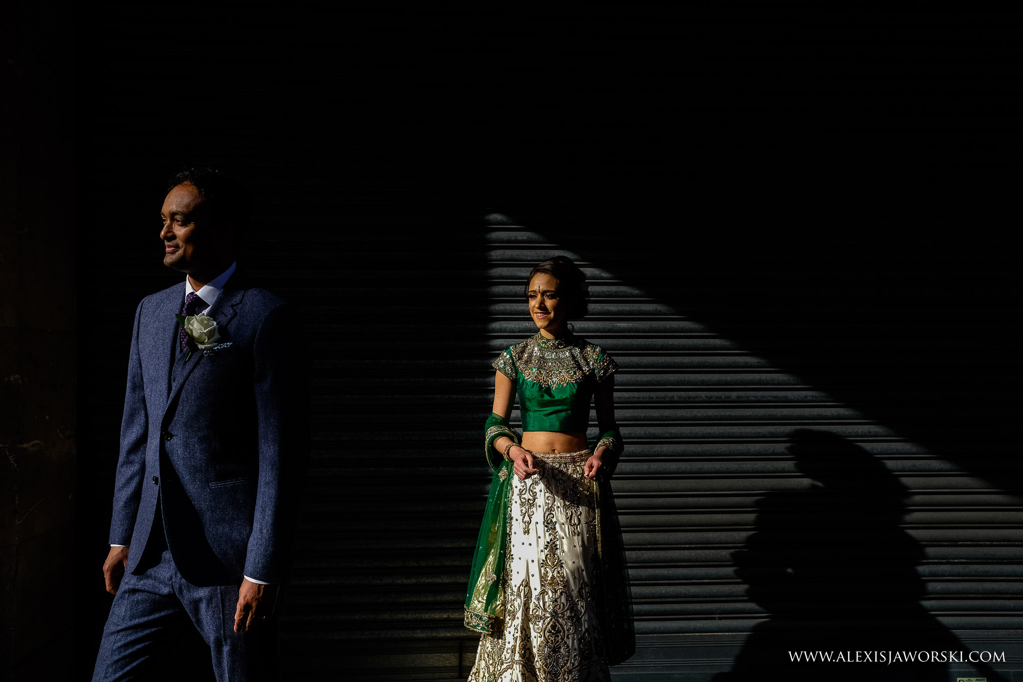 fashion portrait of bride and groom