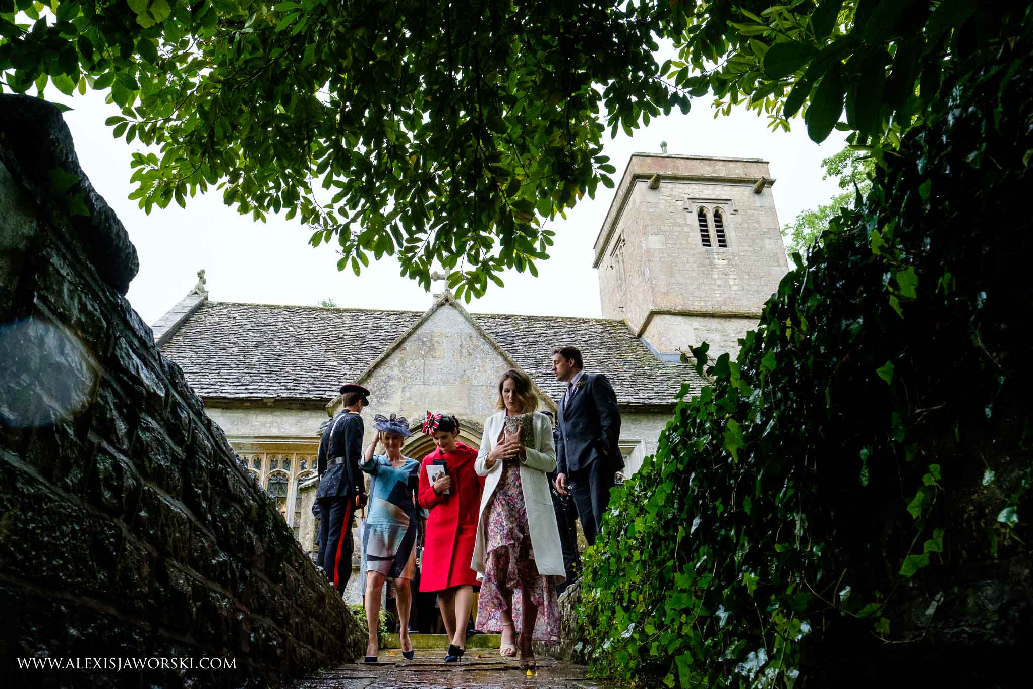 guests walking out the church