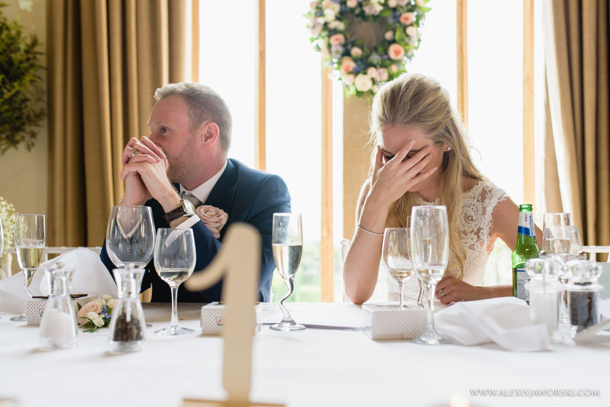 bride cringing at speeches