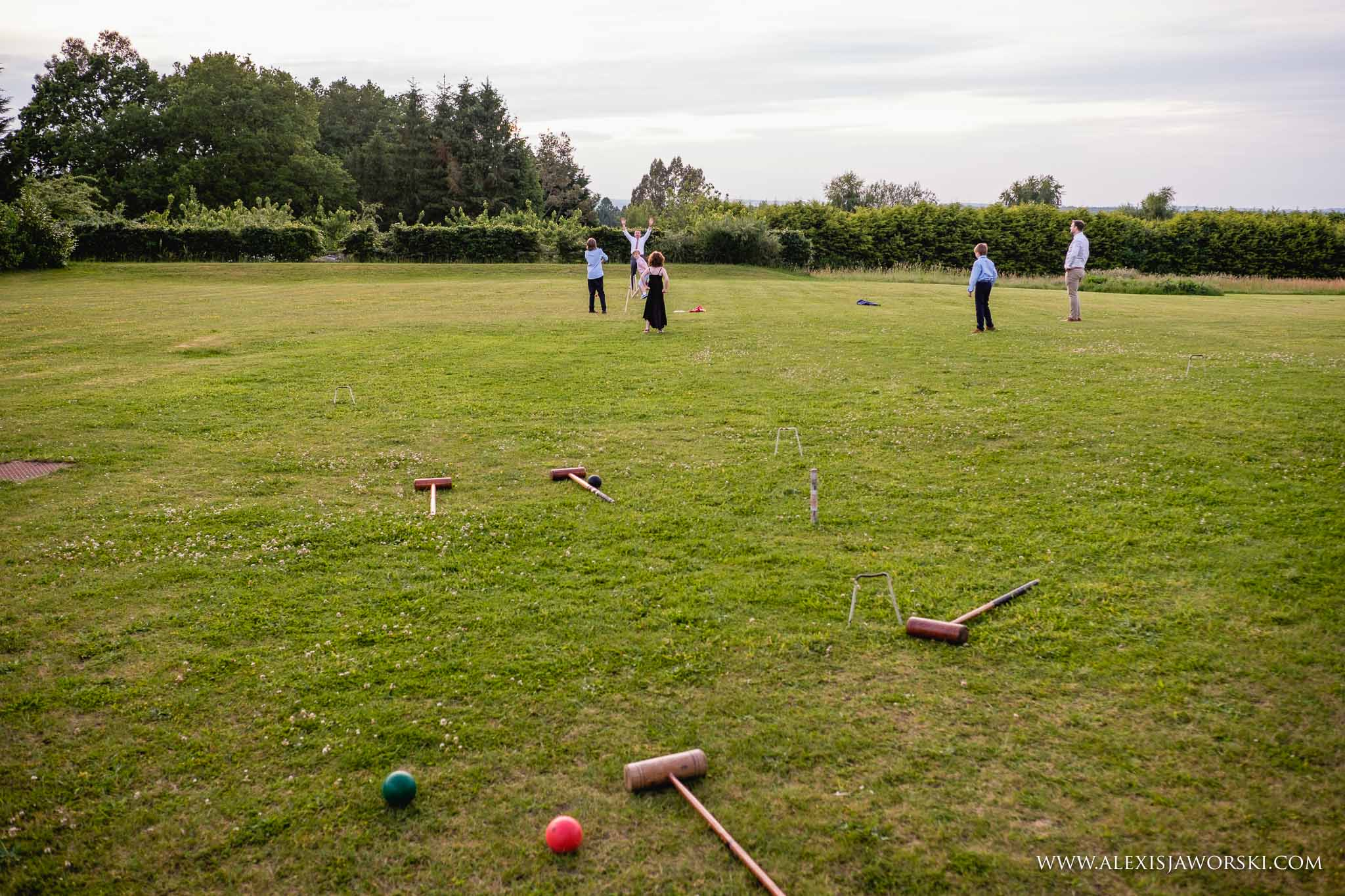 Guests playing cricket