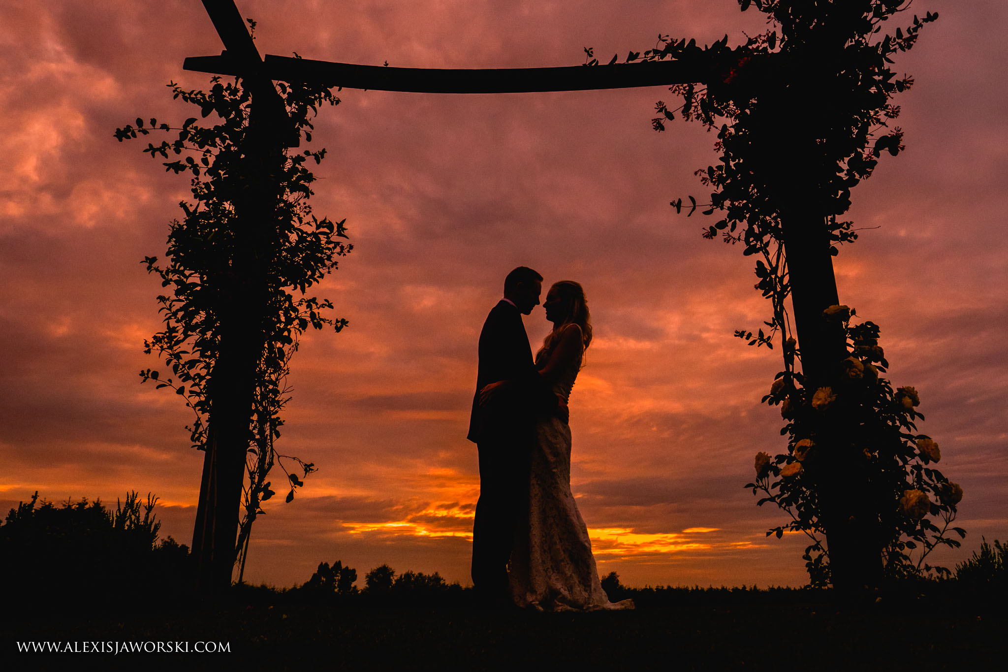 Sunset Portrait of the bride and groom