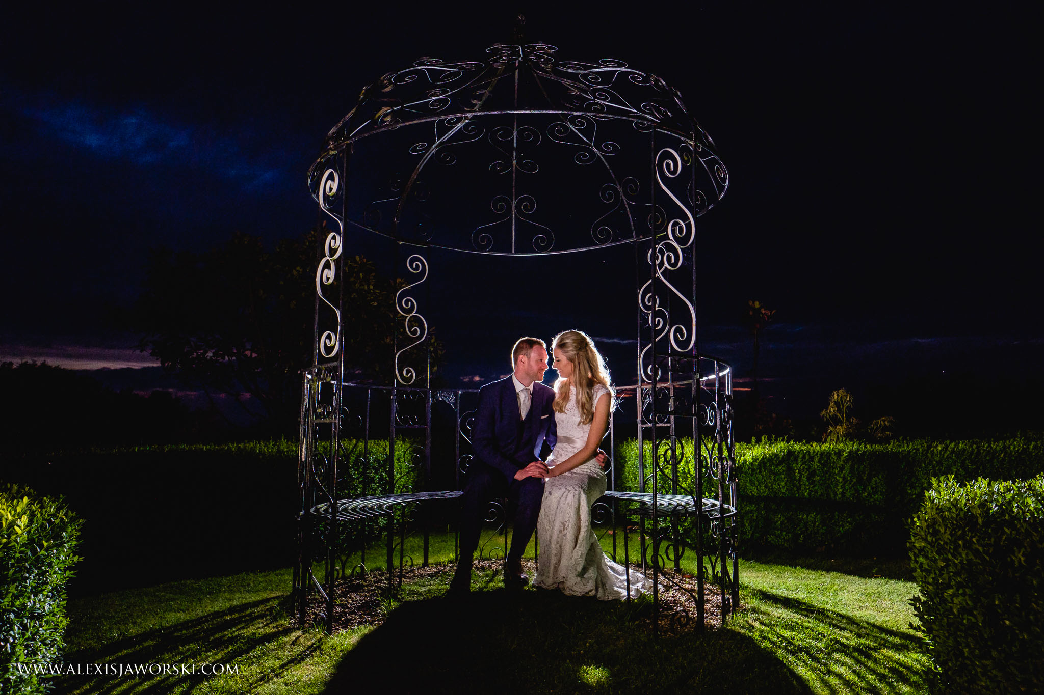 Night portrait of bride and groom