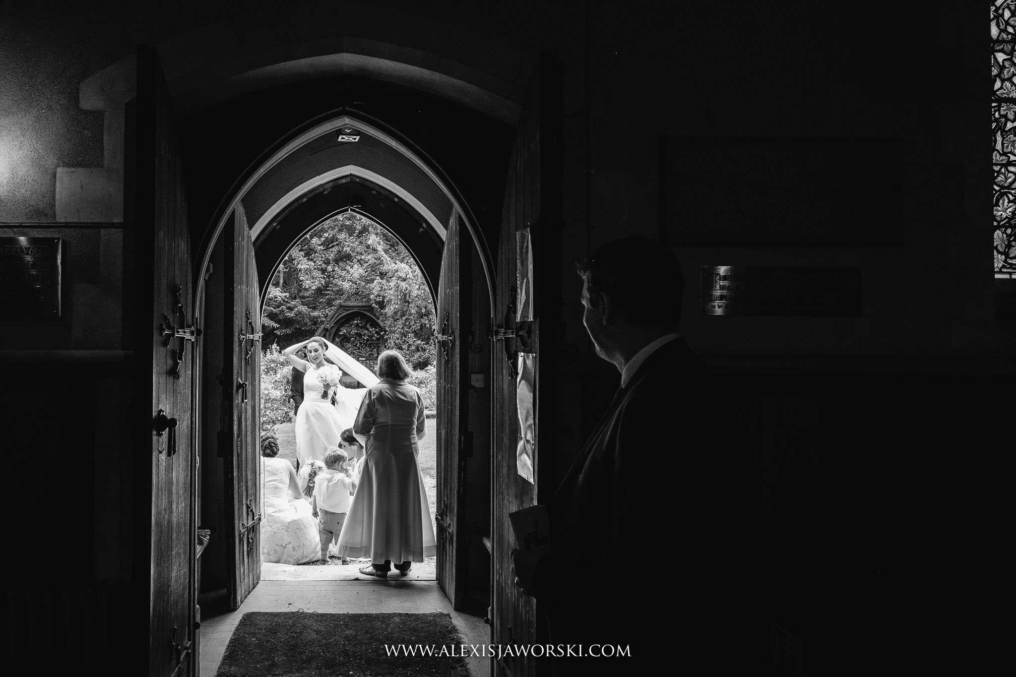 bride waiting by the door