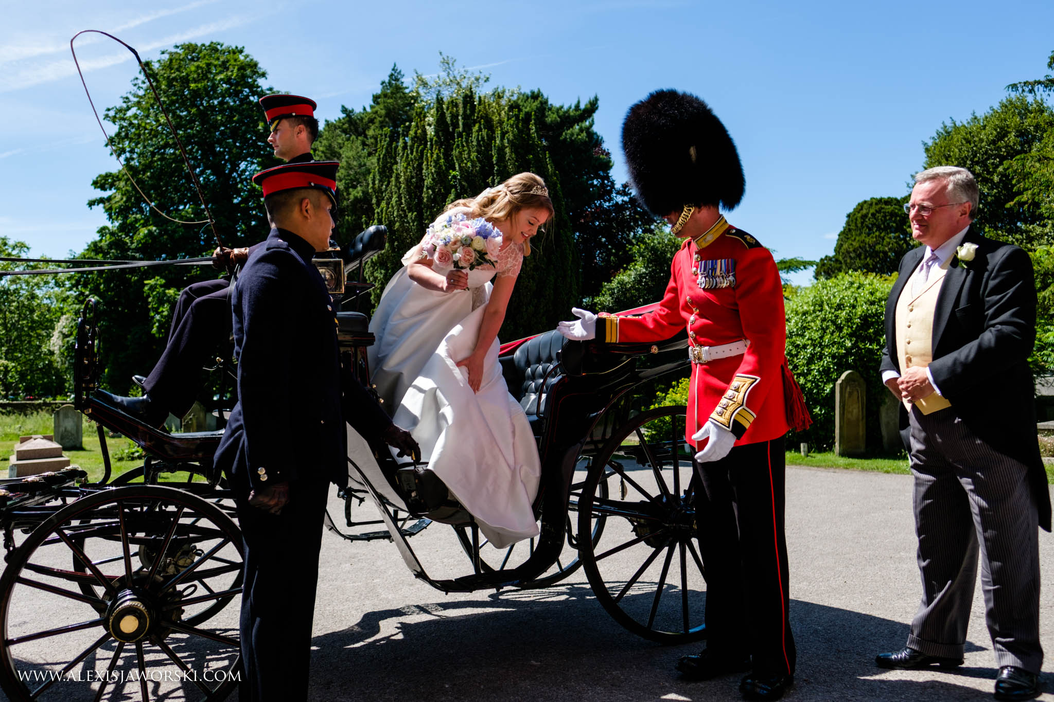 bride coming off the carriage