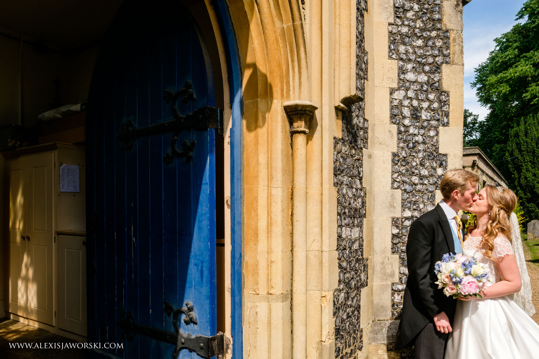 kissing outside the church