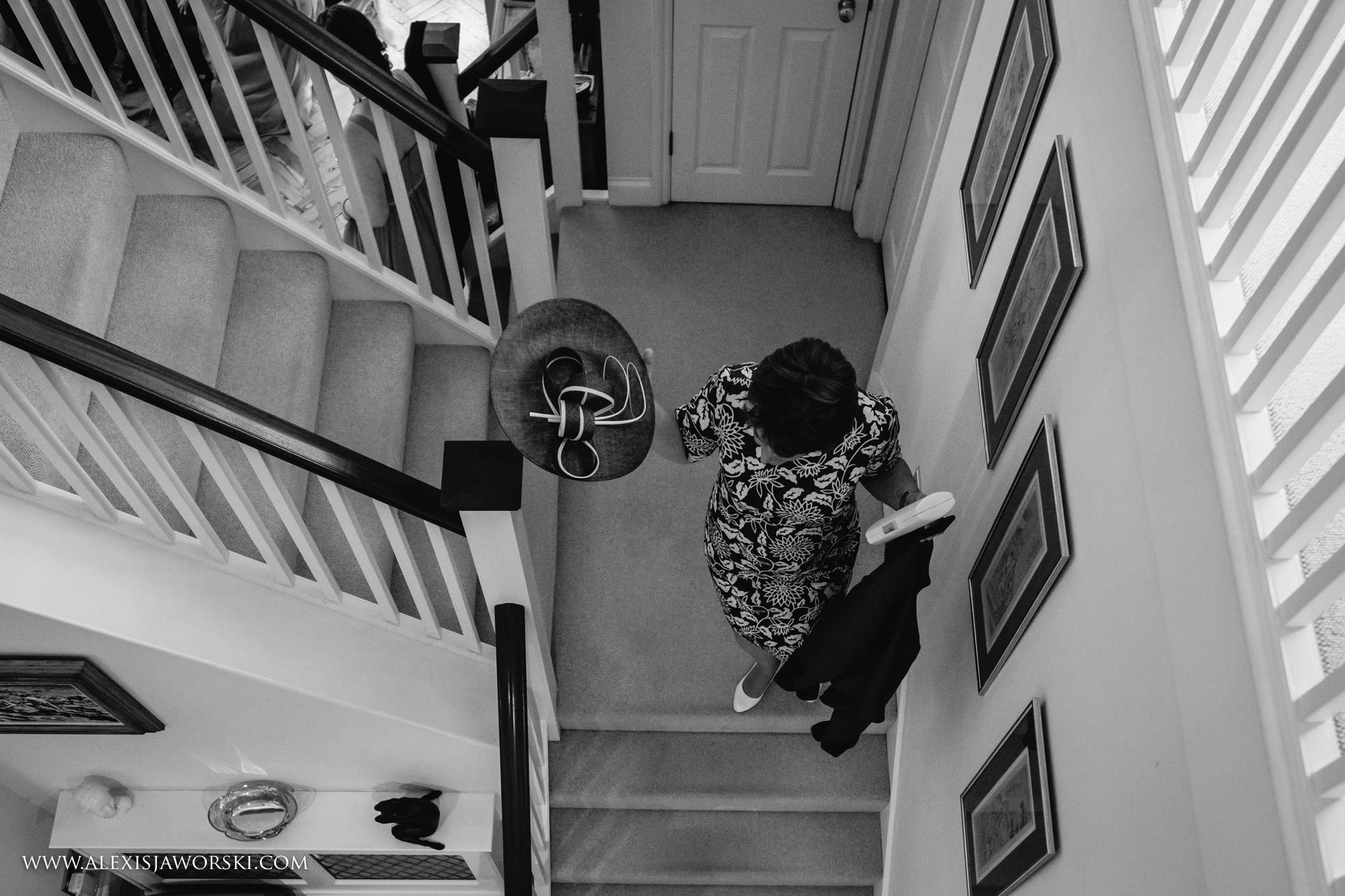 mum walking down the stairs