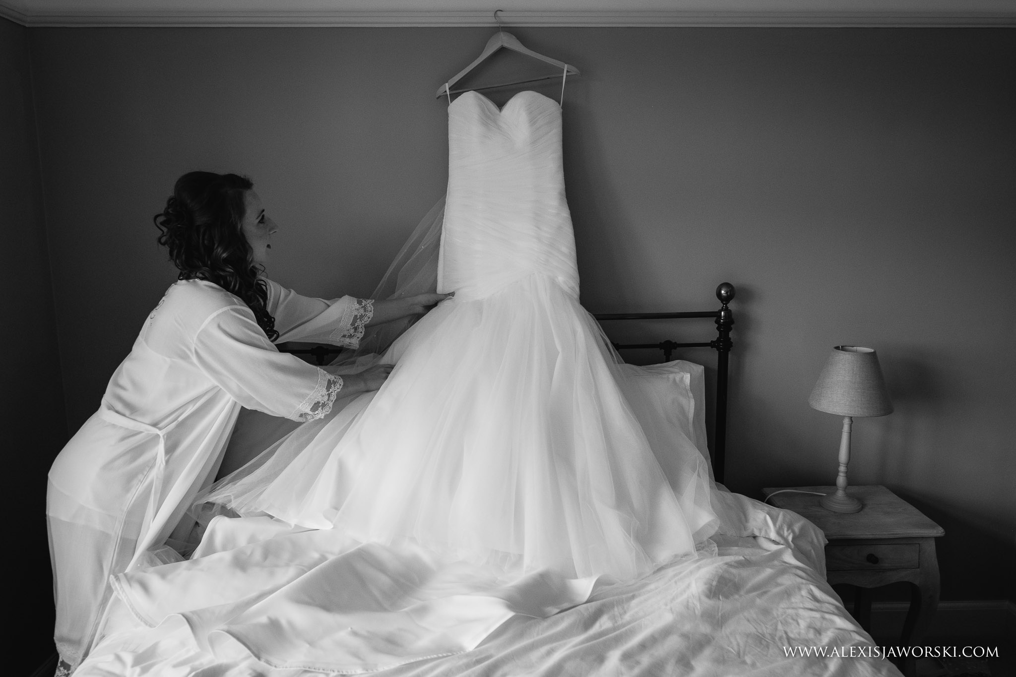 Wedding dress on bed
