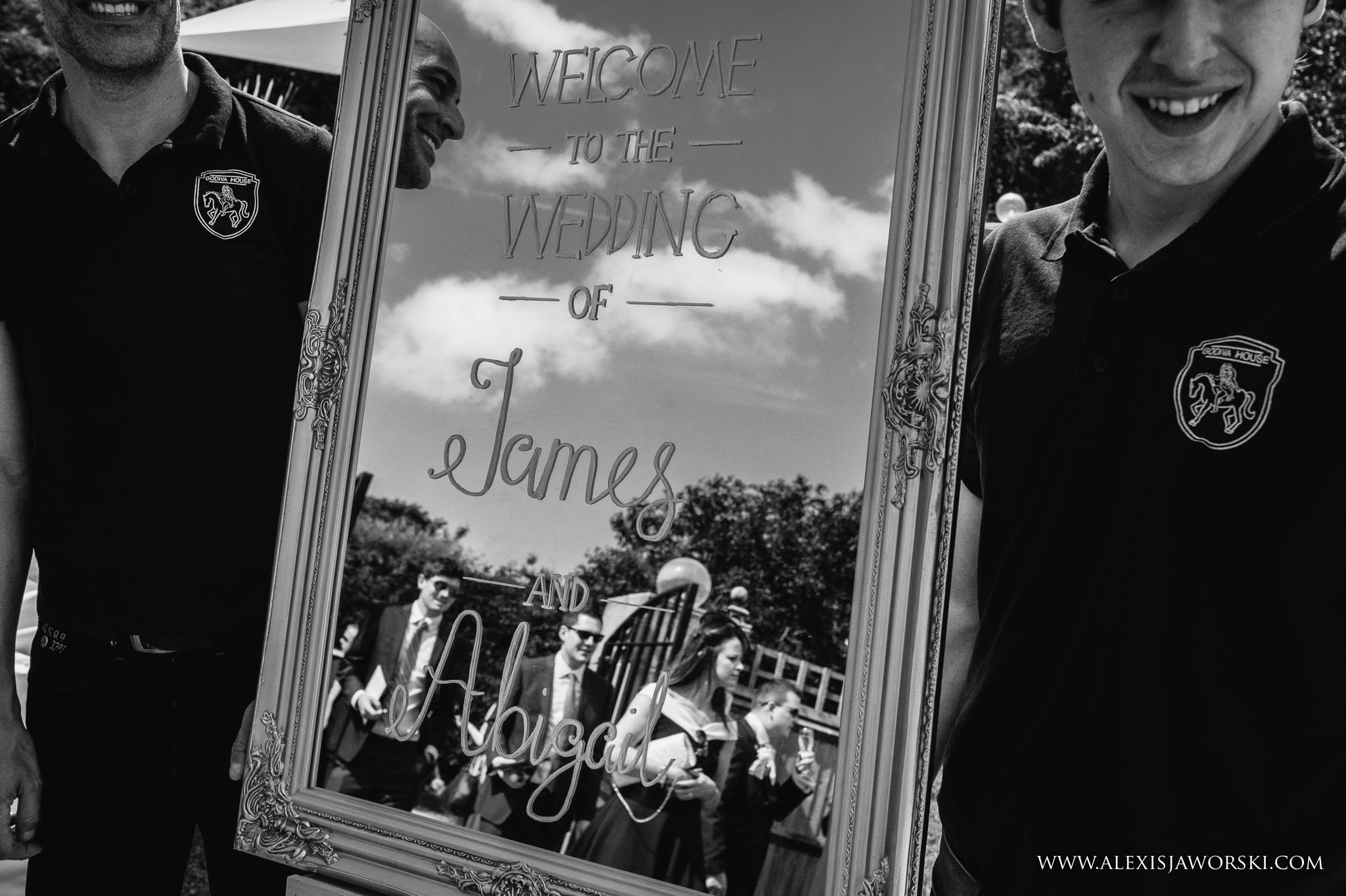 mirror with bride and groom anme