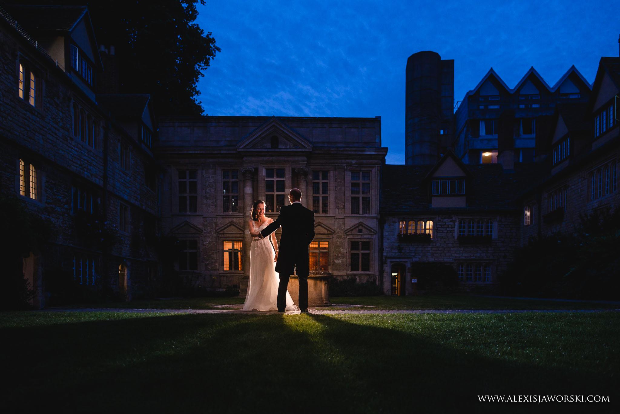 night portrait f bride and groom