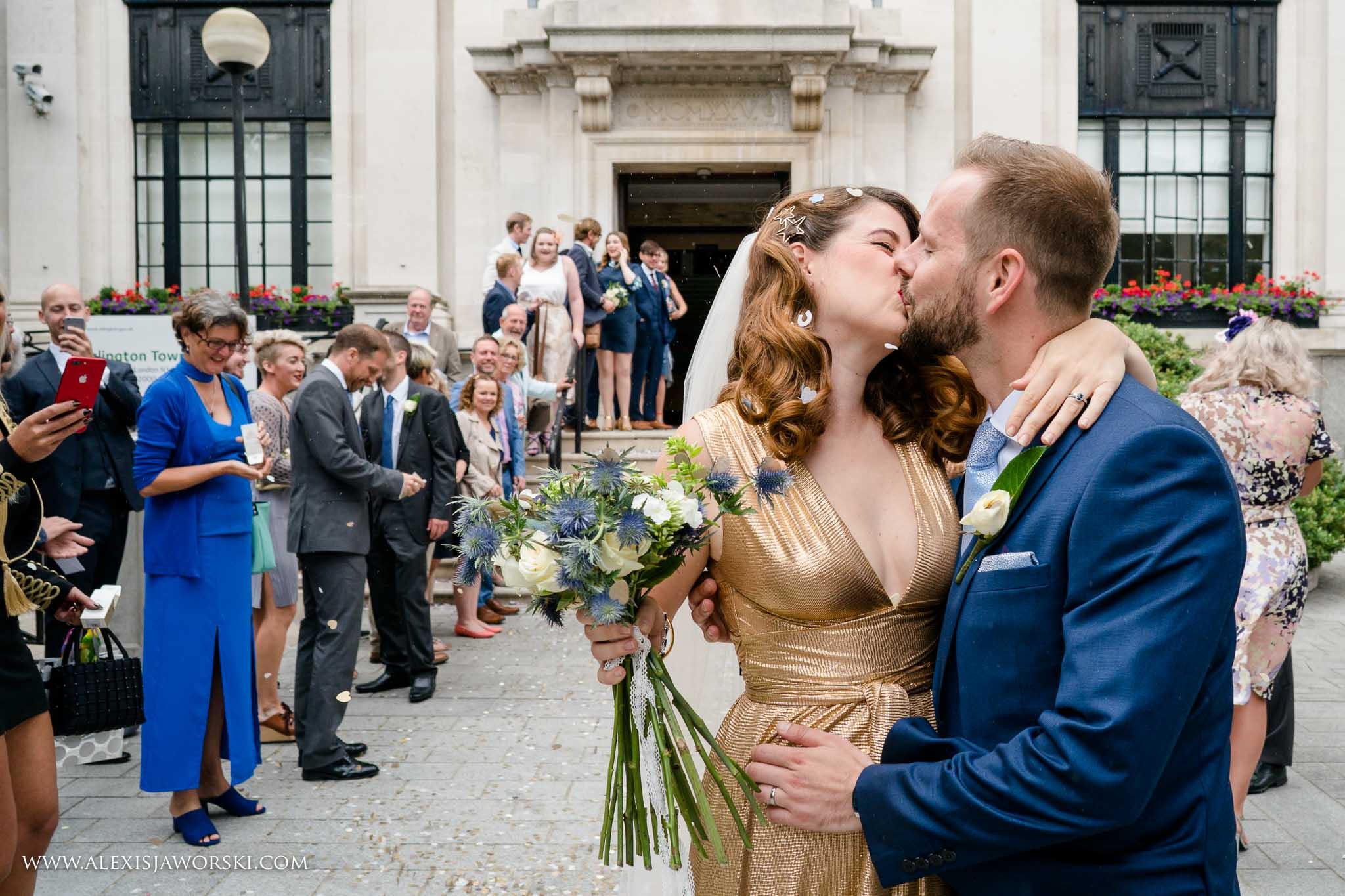 kiss outside the venue