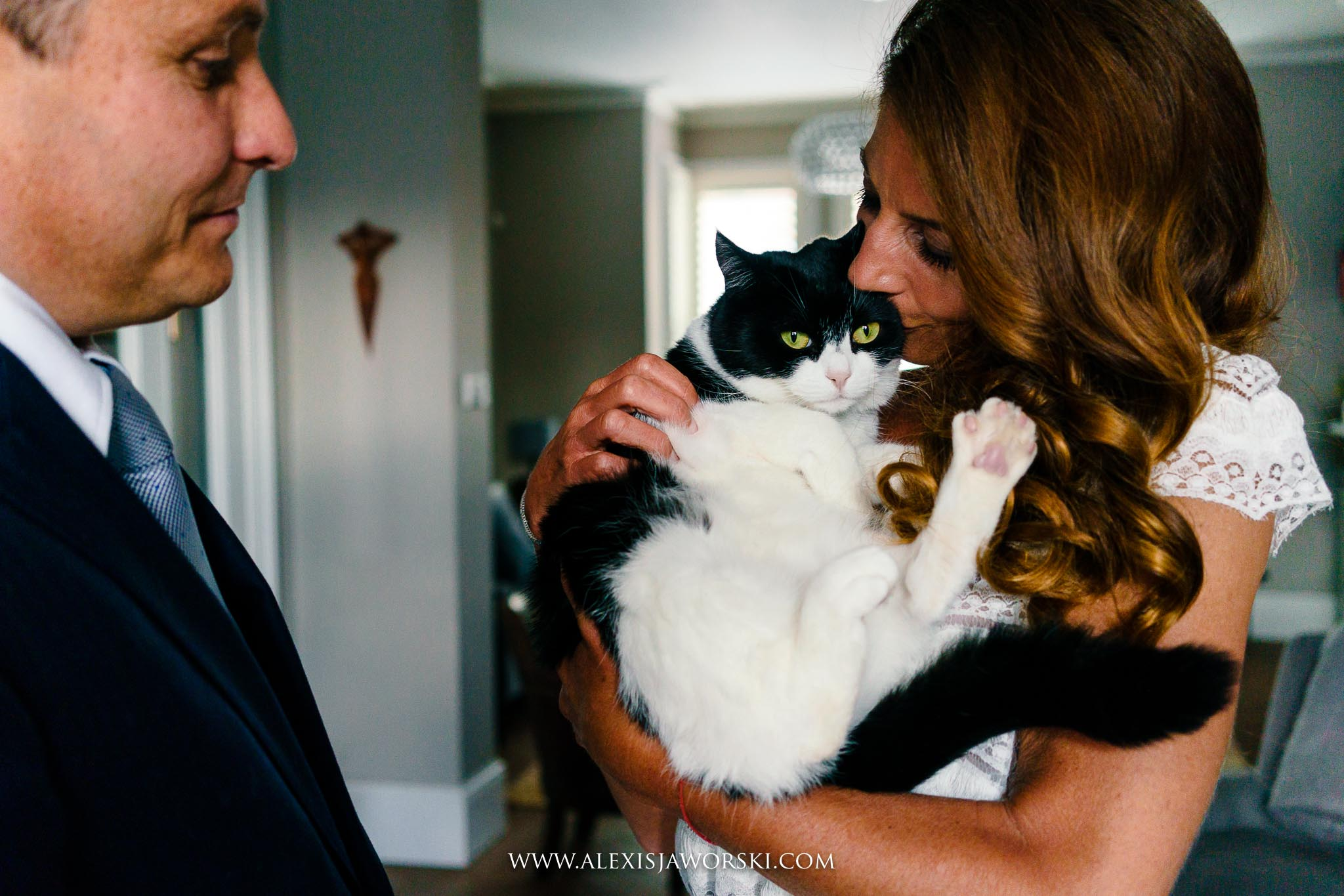 bride and groom and cat