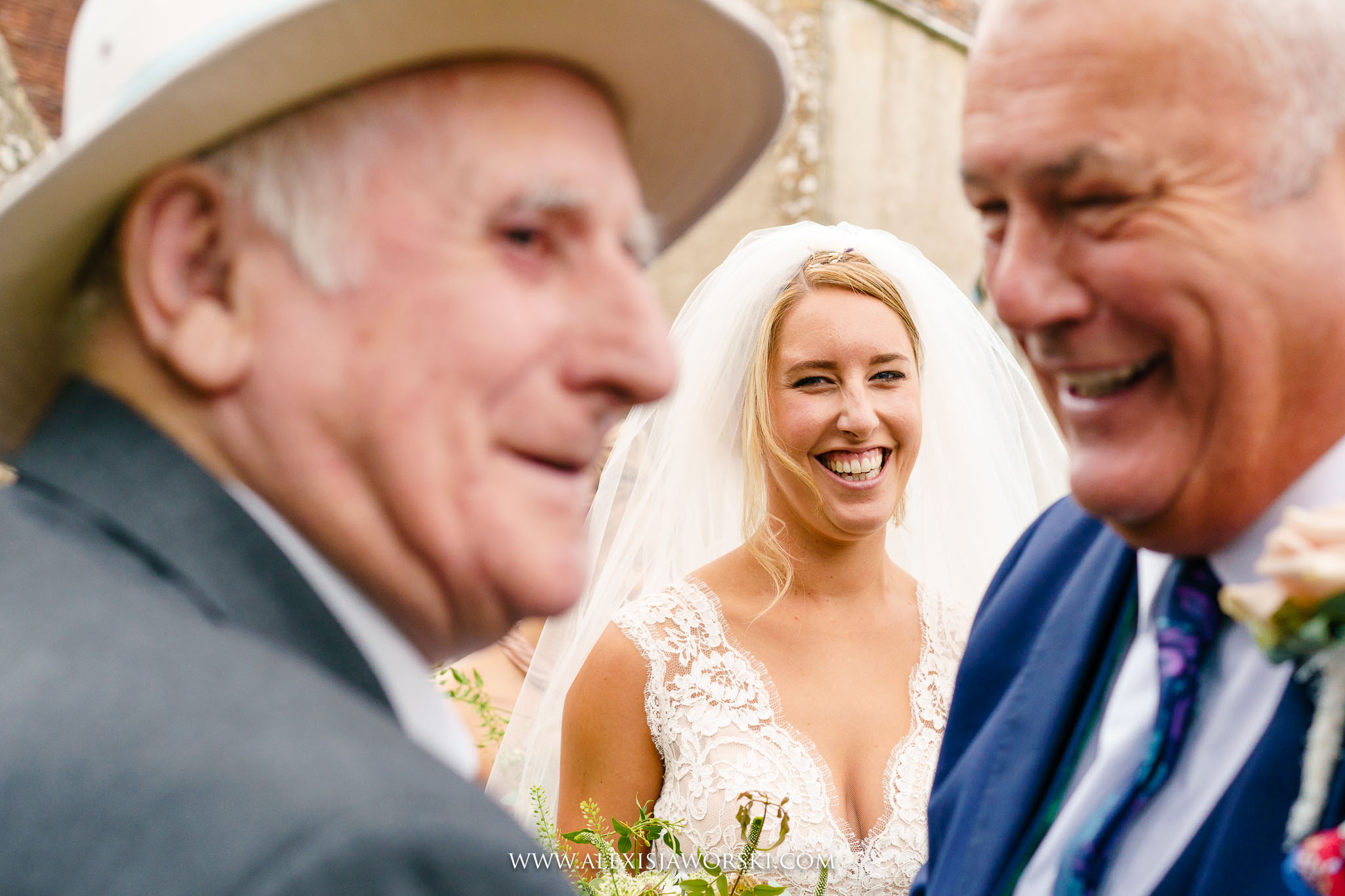 bride with dad and grandpa