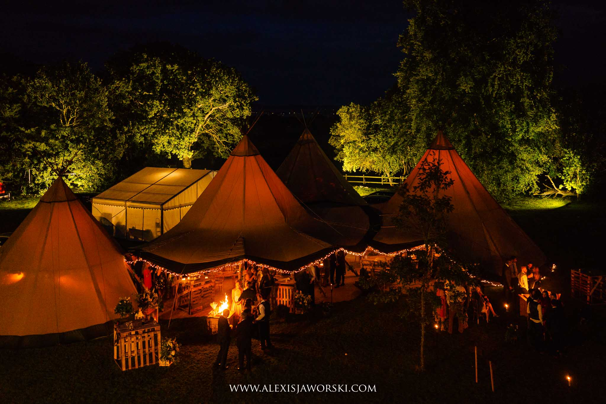 a night time view of tipi