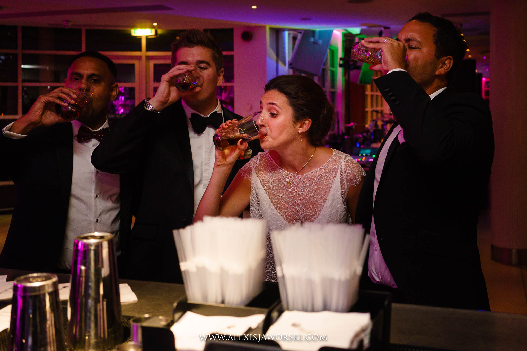 bride doing shots!