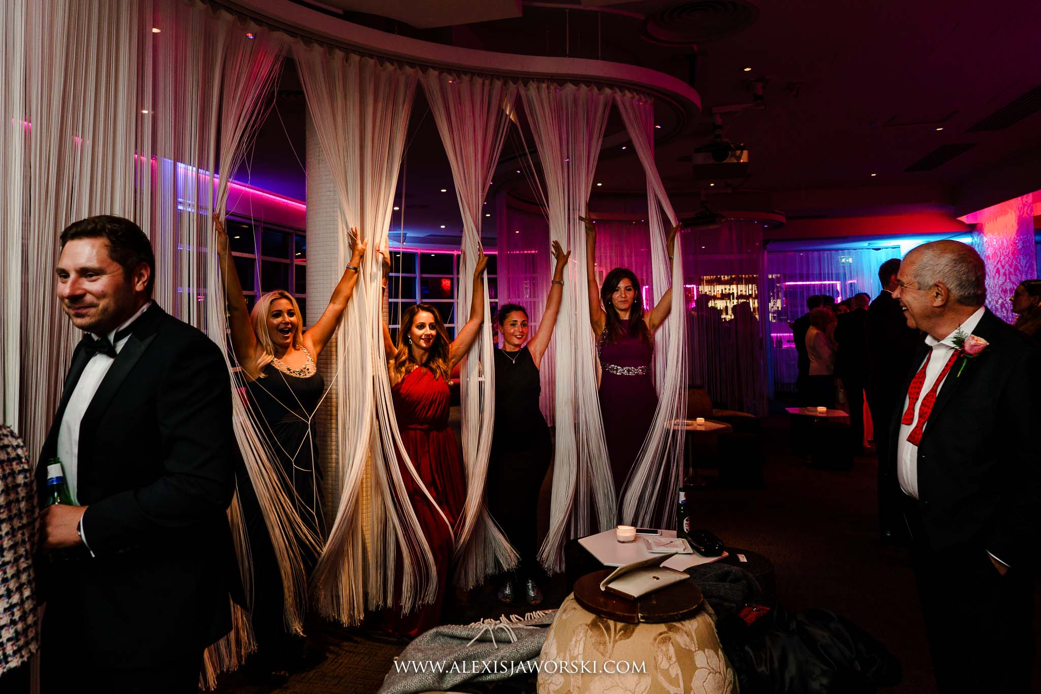 girls having fun with curtains