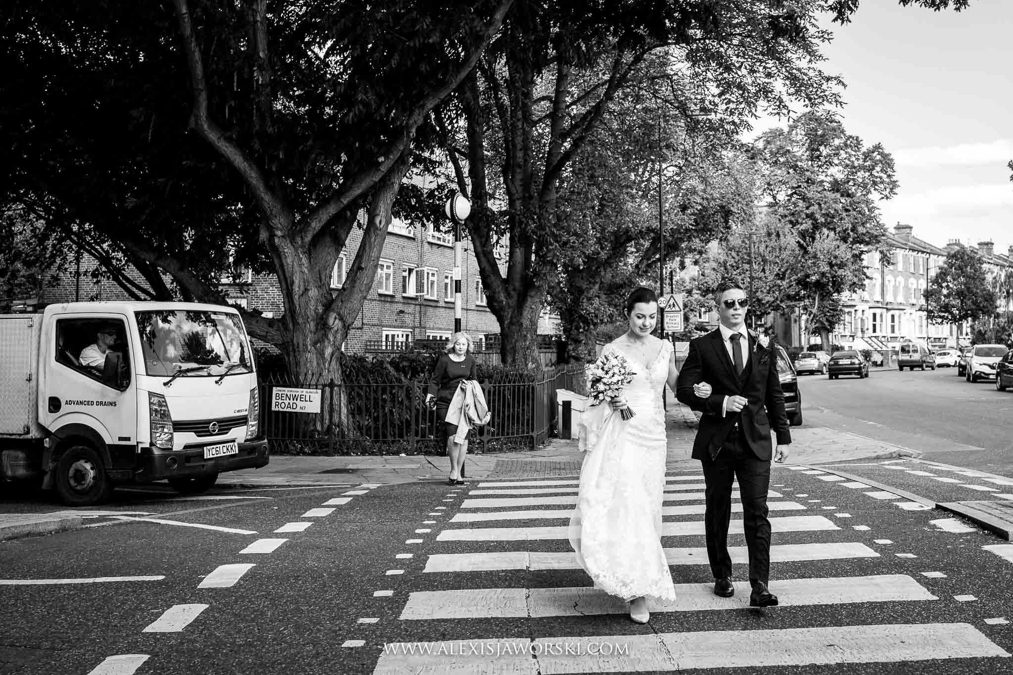 bride and groom walking to the ceremony