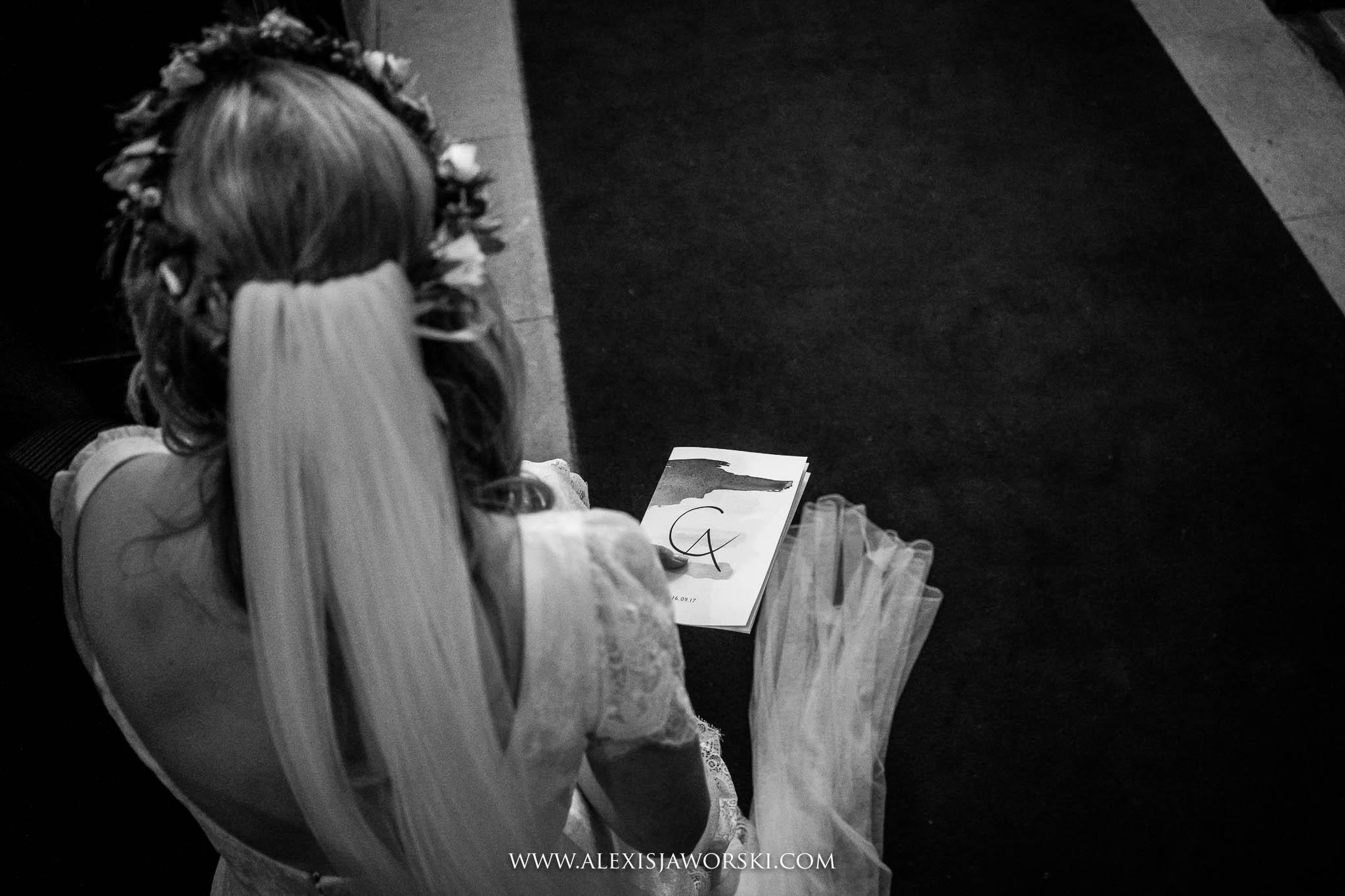 detail shot of back of bride