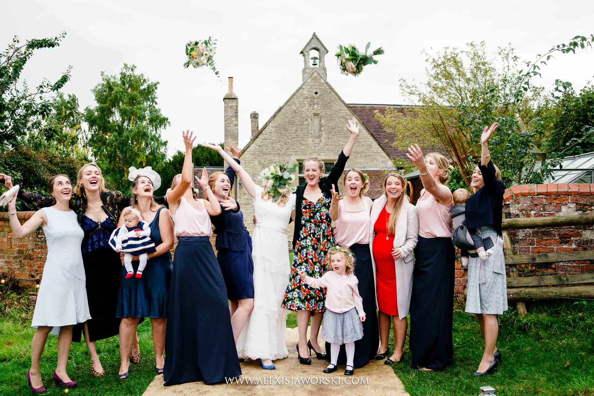 throwing bouquets in the air