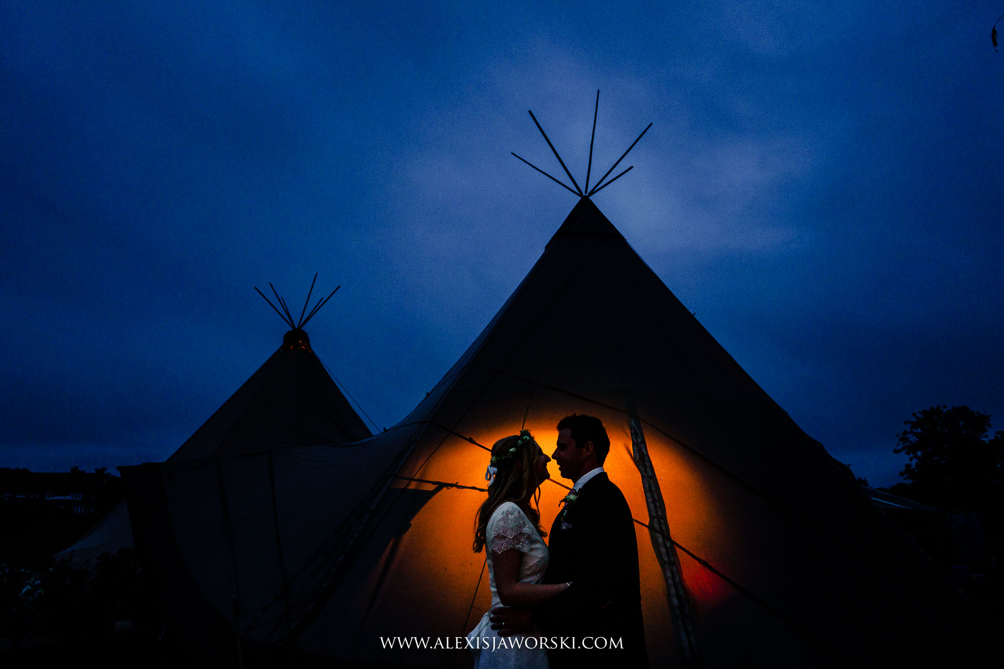 creative portrait of bride and grom