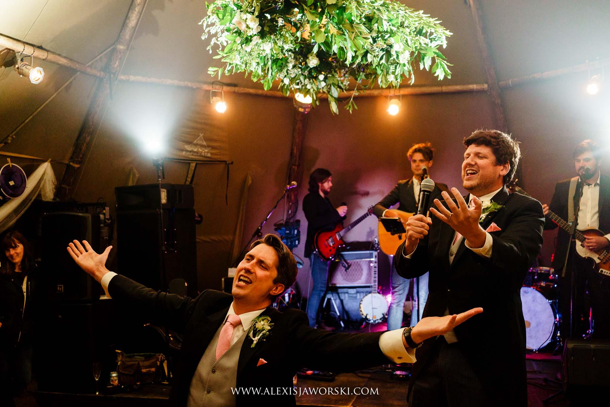 The bridesmen singing