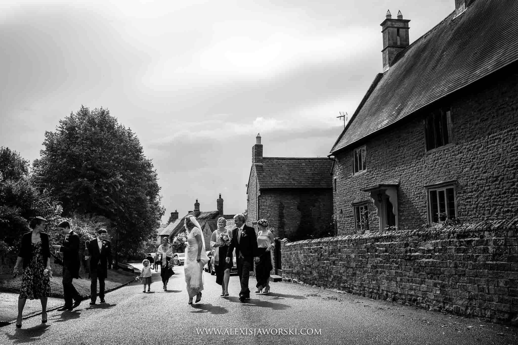 Bride walking to the church