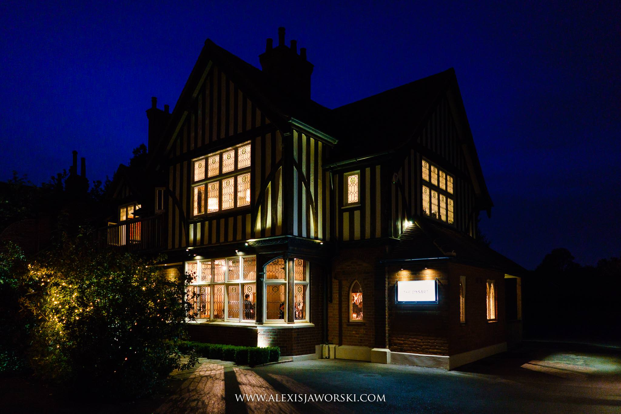 the wedding venue at night