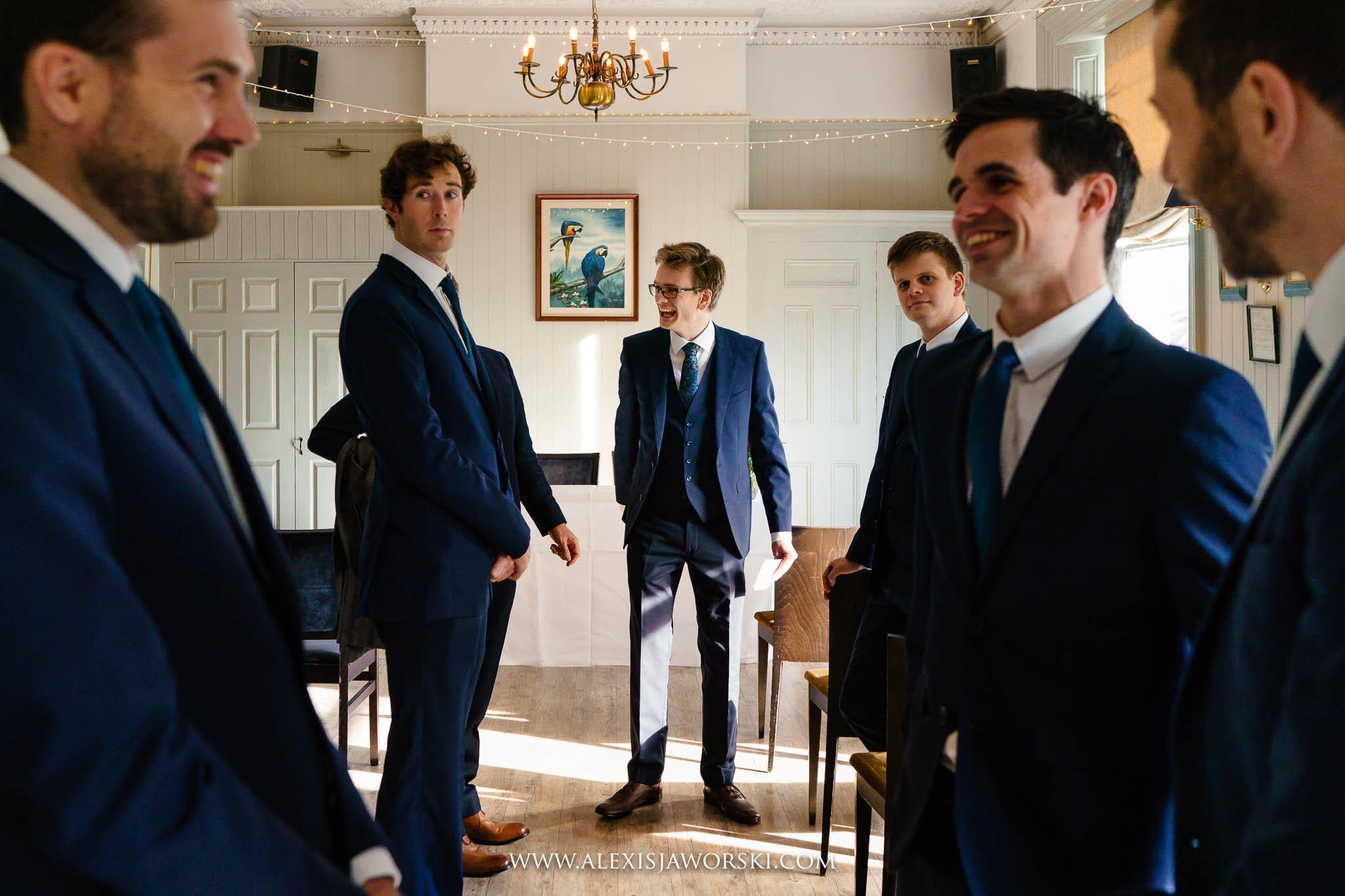 groom briefing the ushers