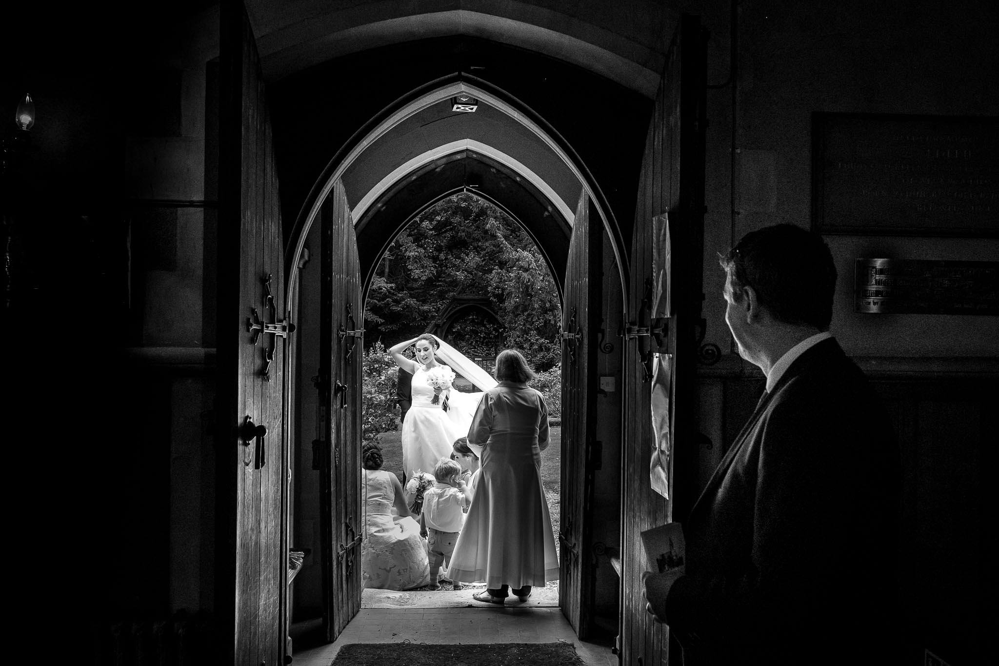 bride at the church door