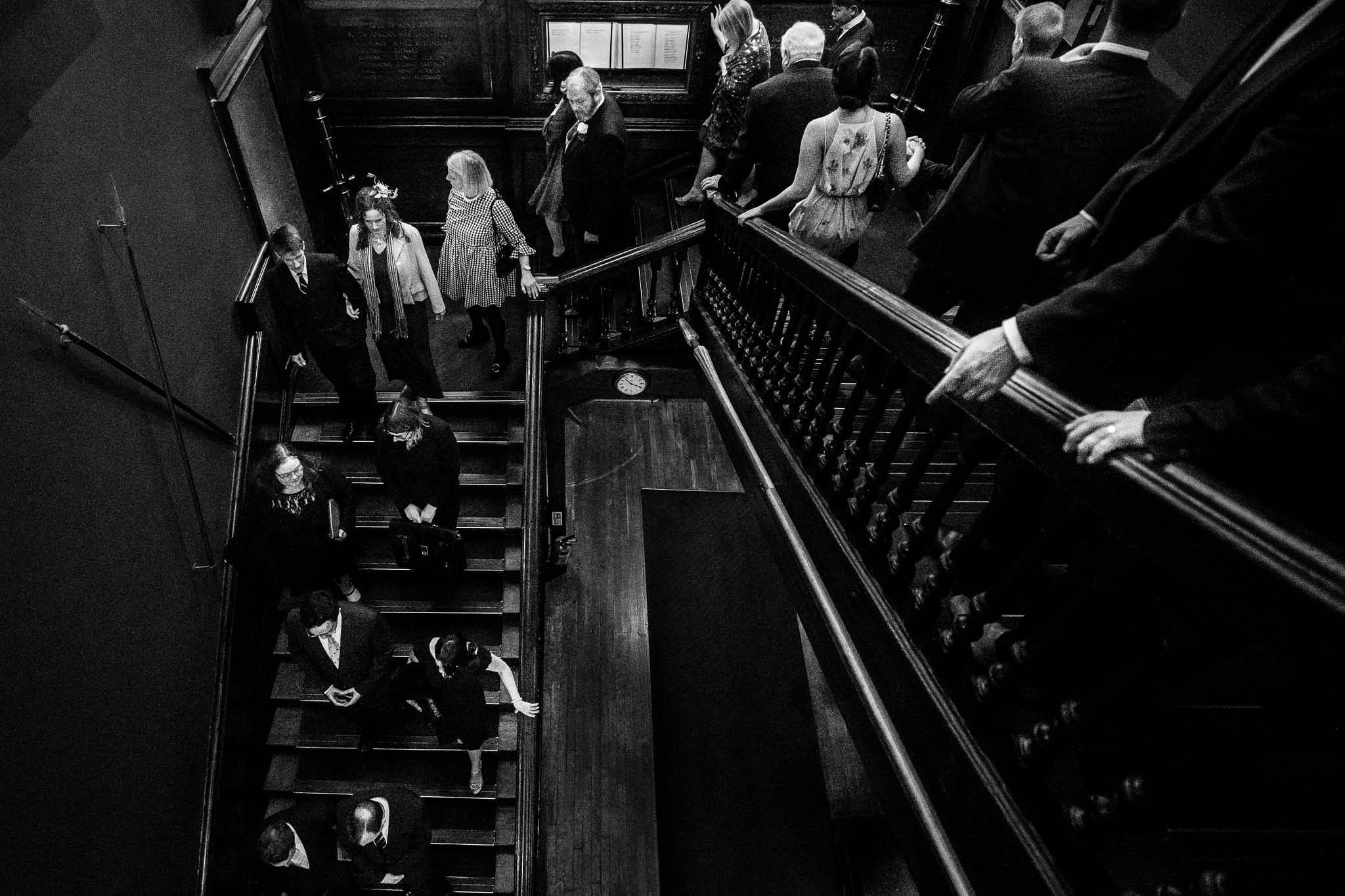 guests going down the stairs