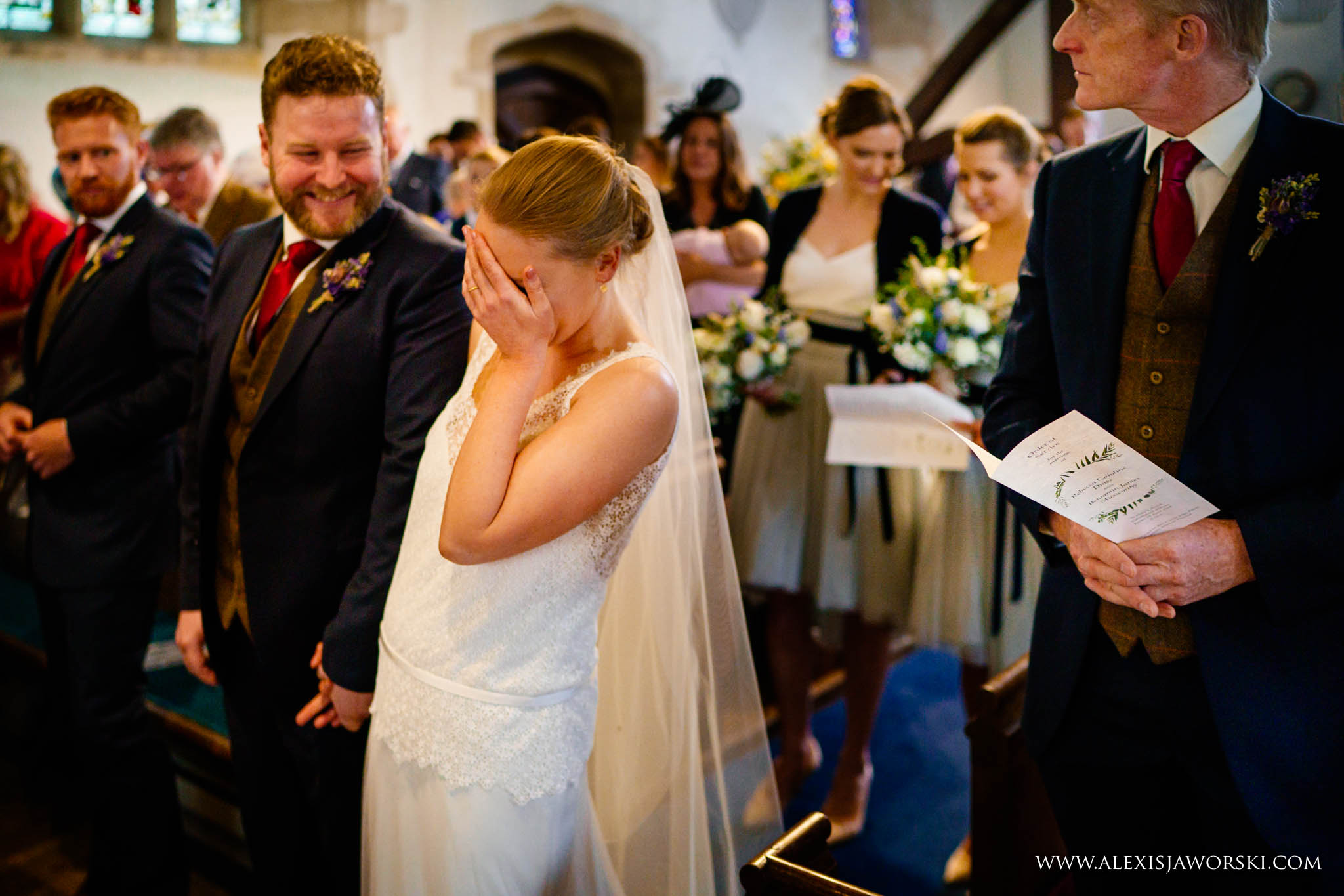 bride covering her face