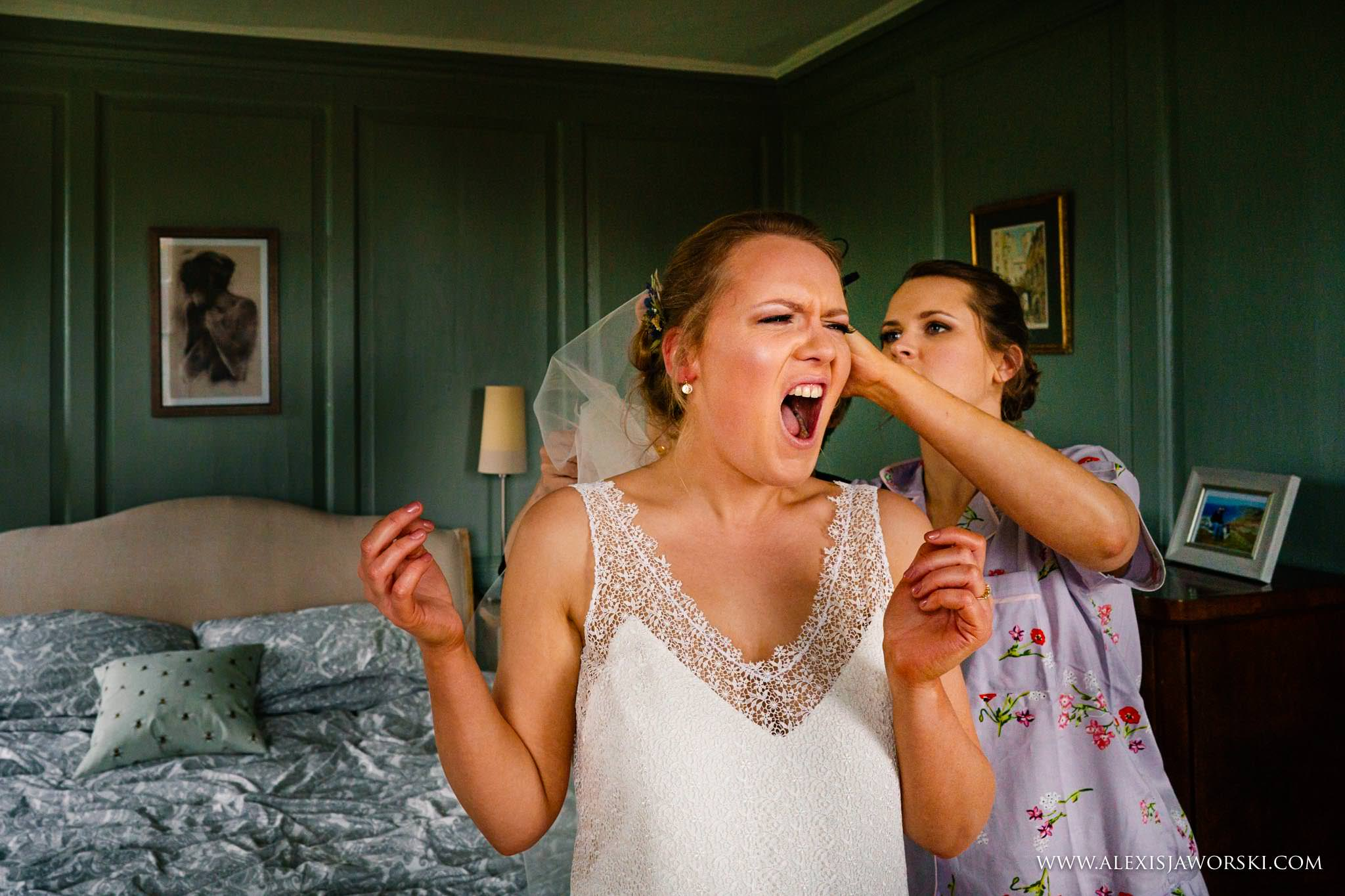 bride screaming during the putting of the veil