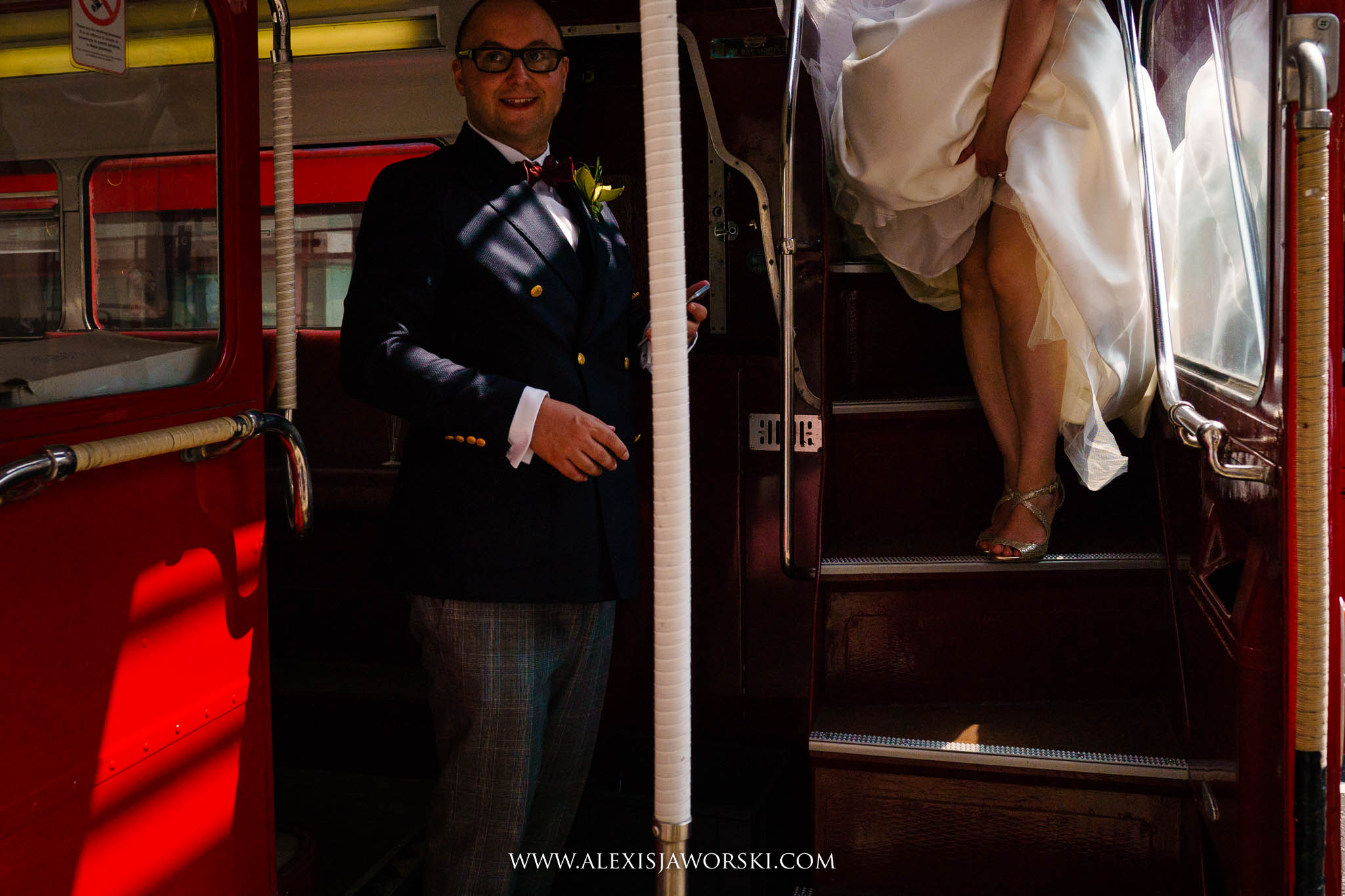 bride leaving bus