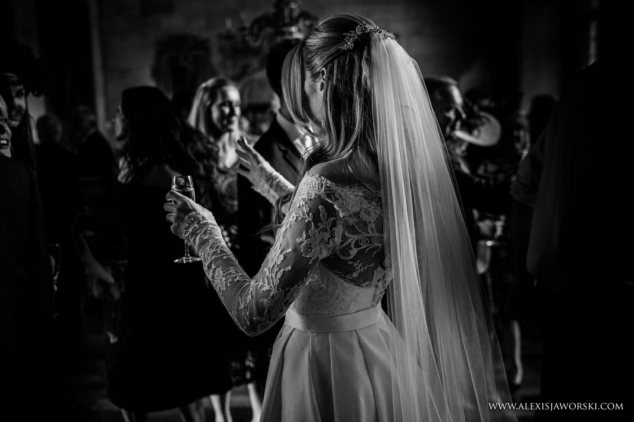 bride drinking champage