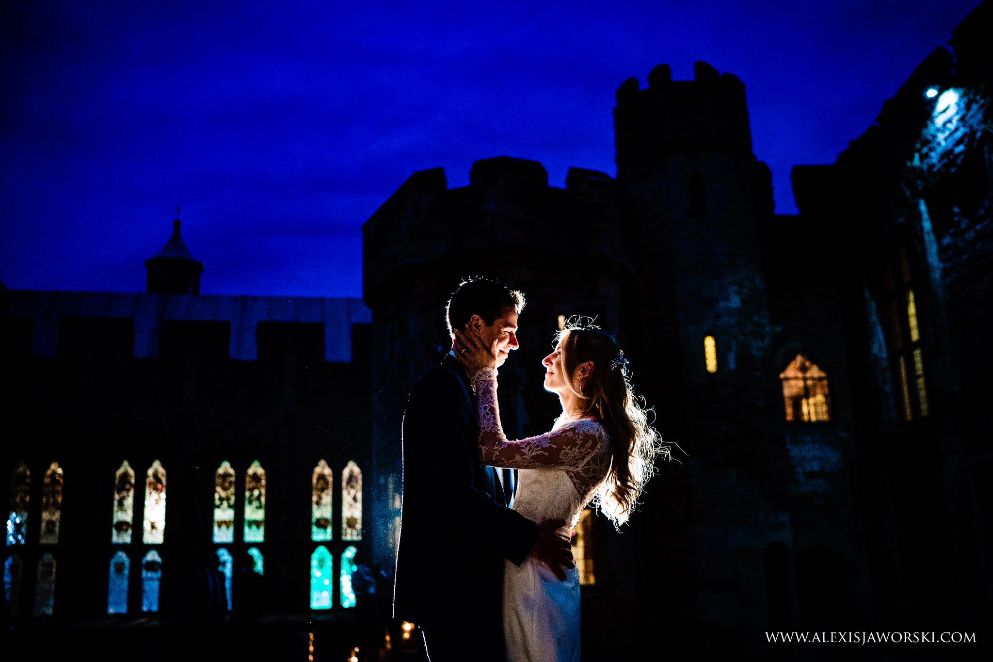 a night portrait of the bride and groom