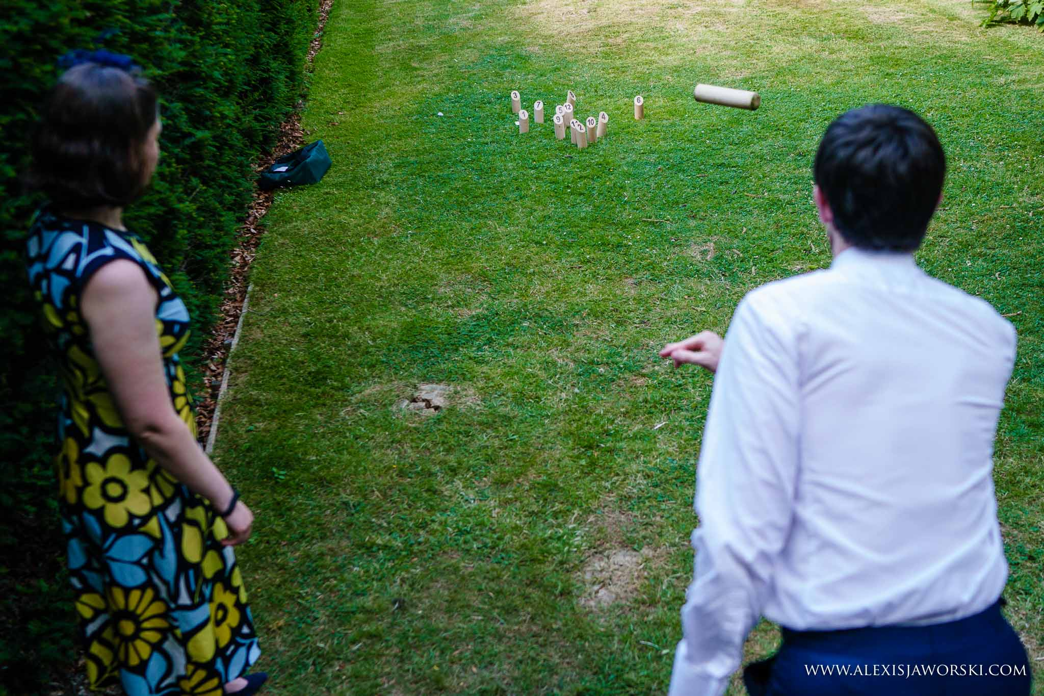 guests playing lawn games