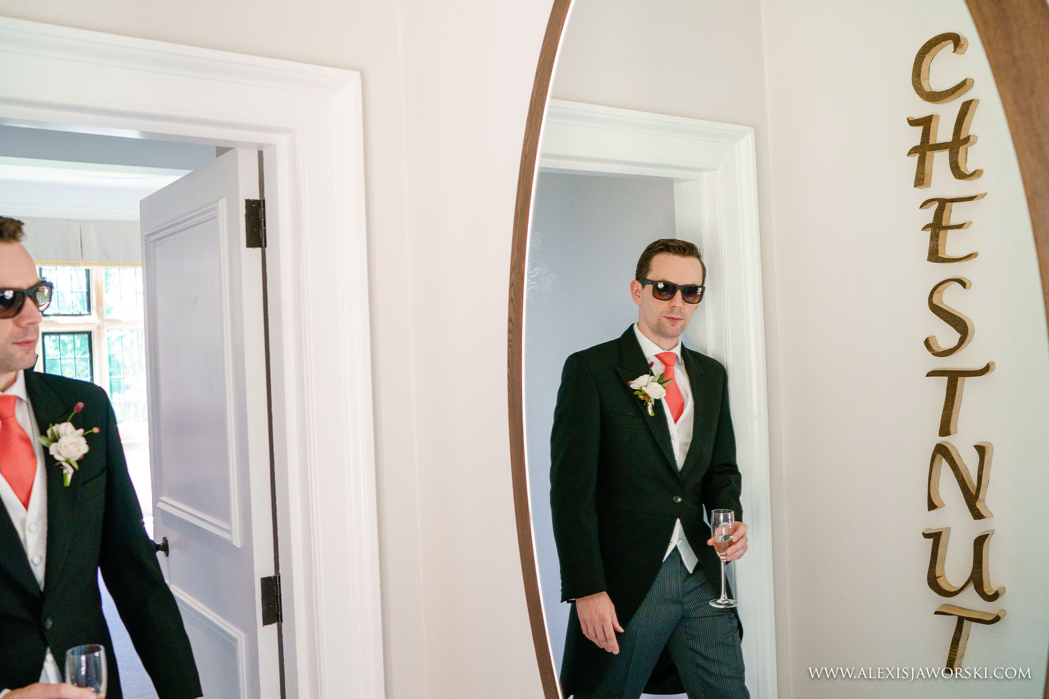 groom leaving the room