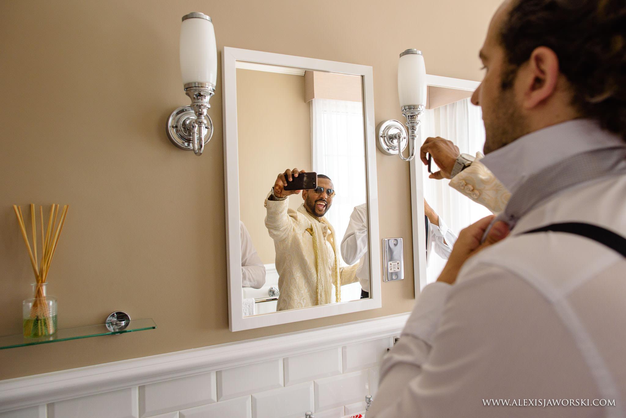 groom doing a selfie