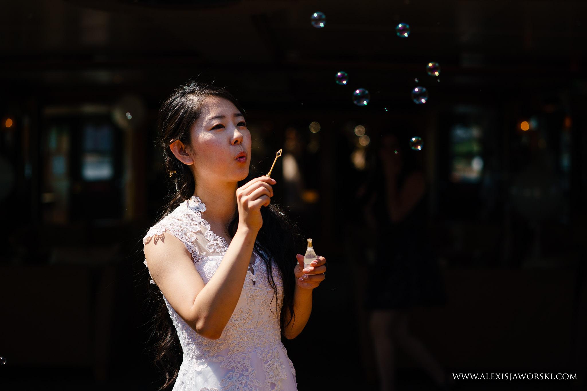 bride doing bubbles