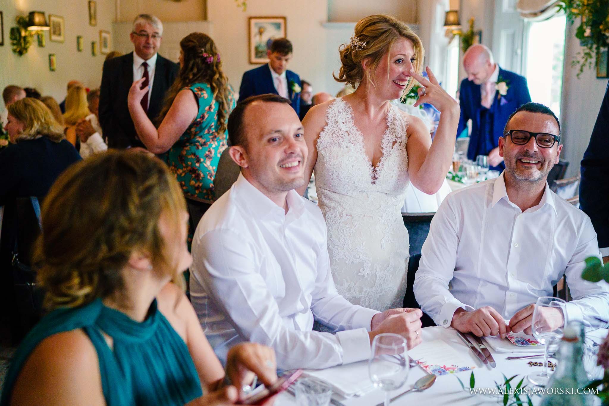 bride having fun with guests