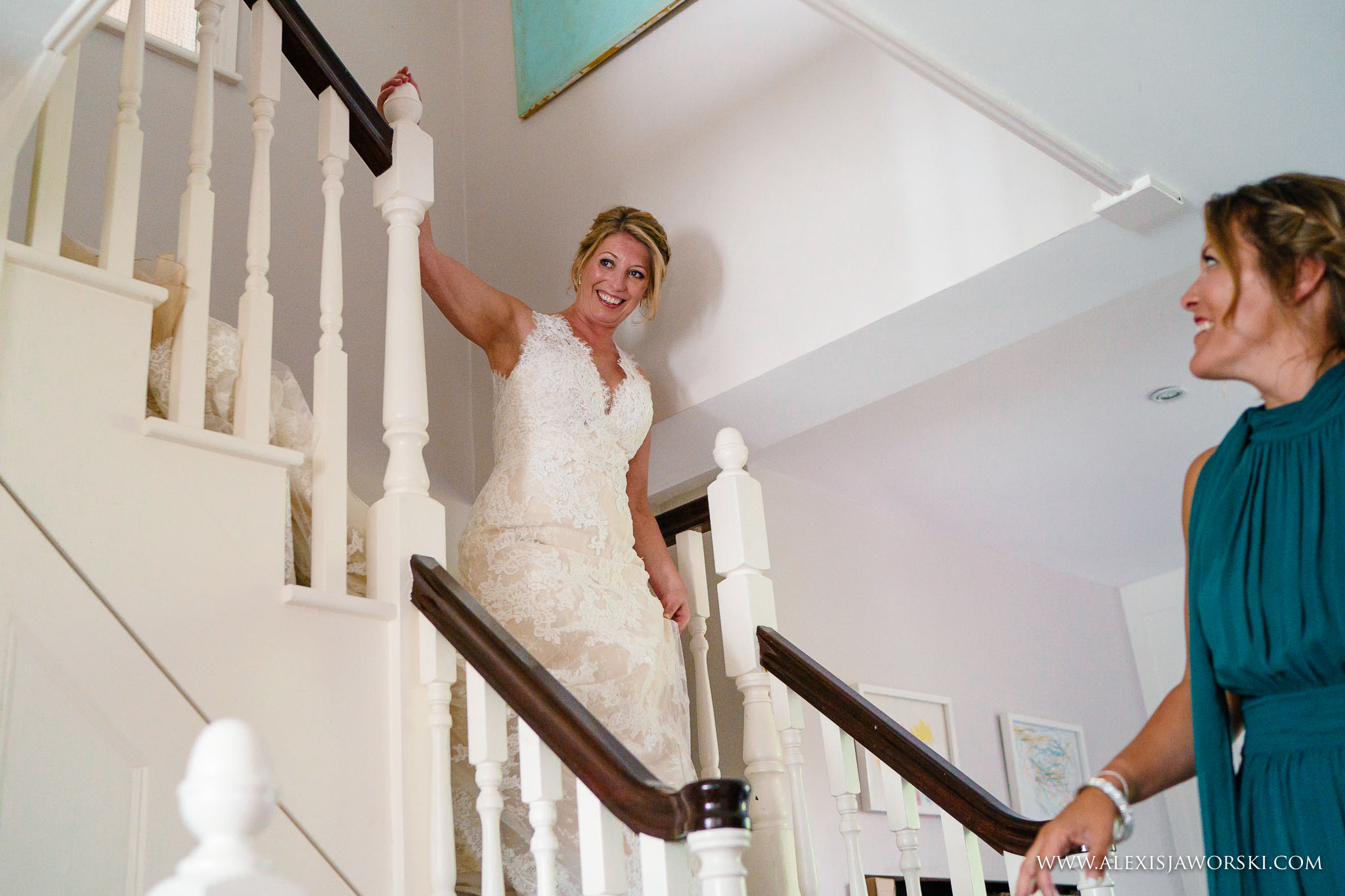 bride walking down the steps