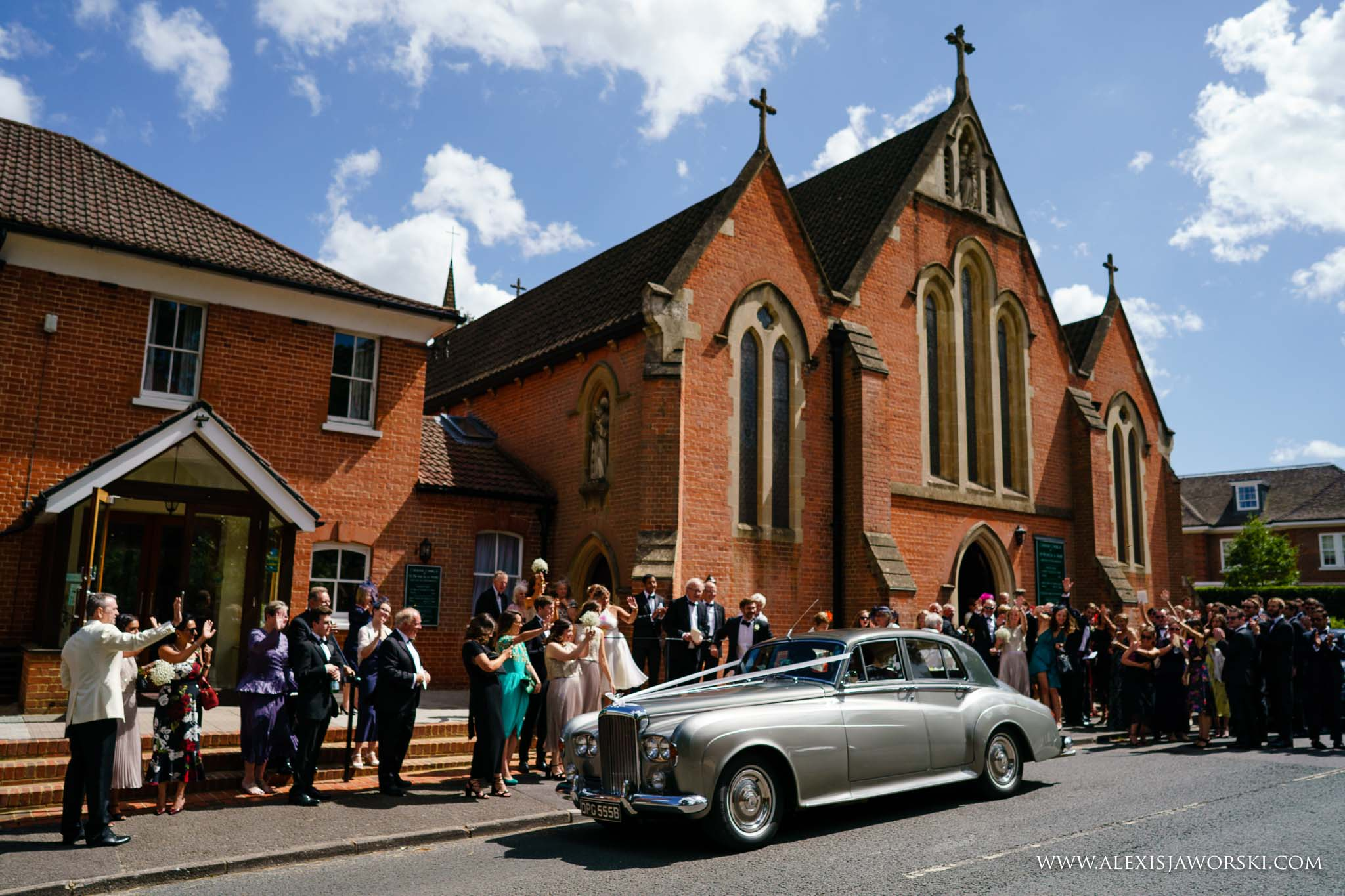 leaving the church by car