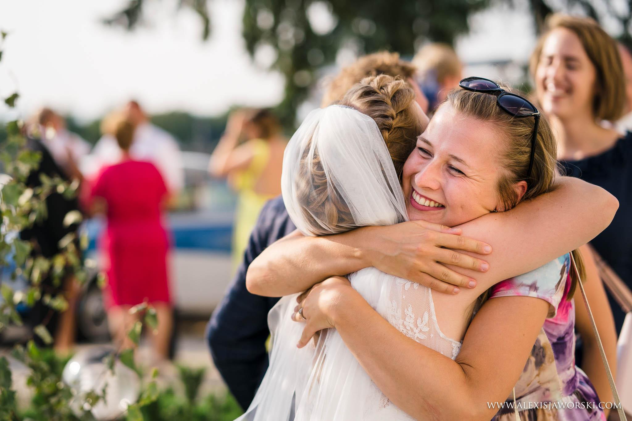 friend congratulating bride