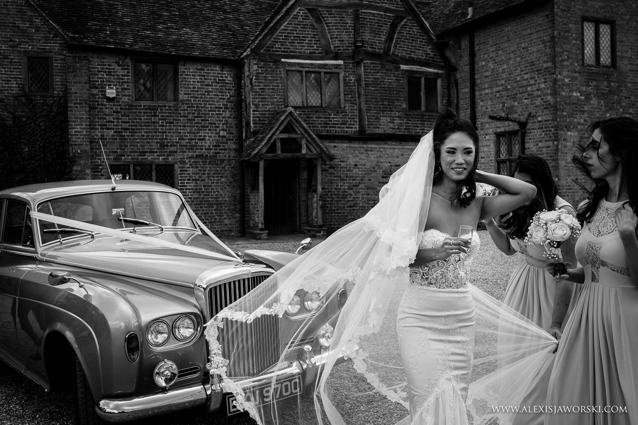 bride adjusting veil