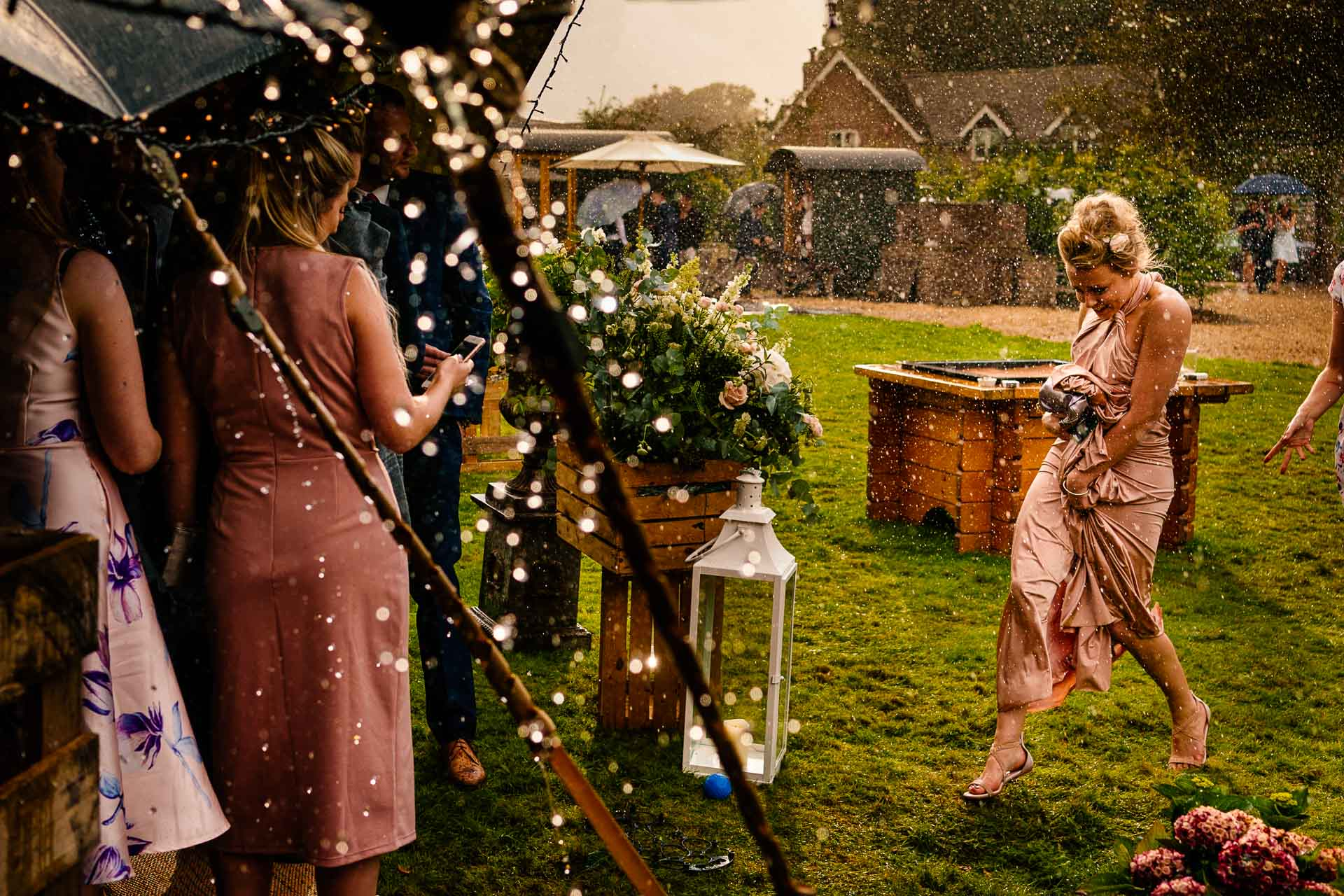 a rainy wedding